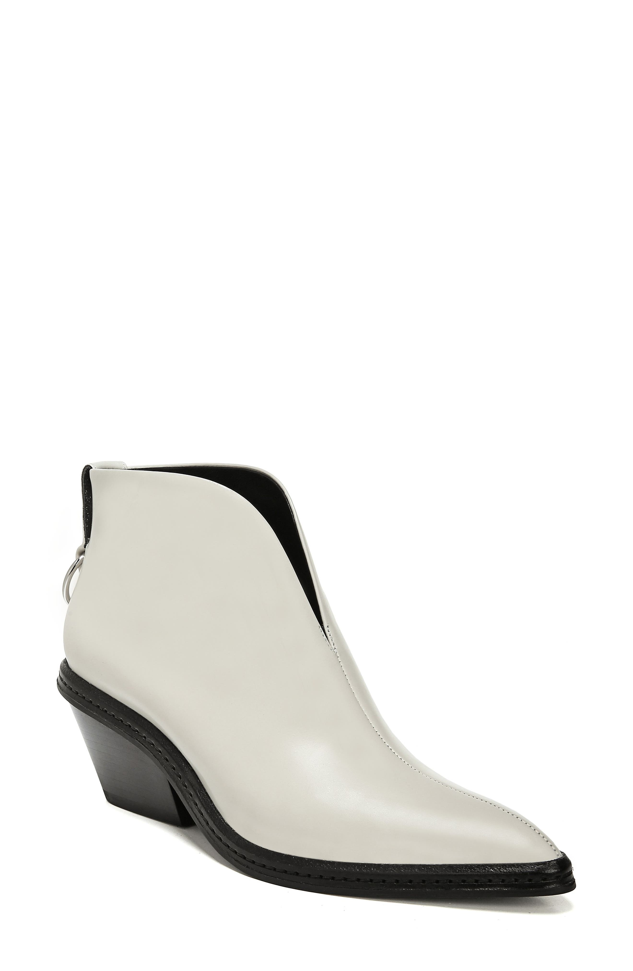 VIA SPIGA Women'S Fianna Pointed Toe Leather Ankle Booties in Bone