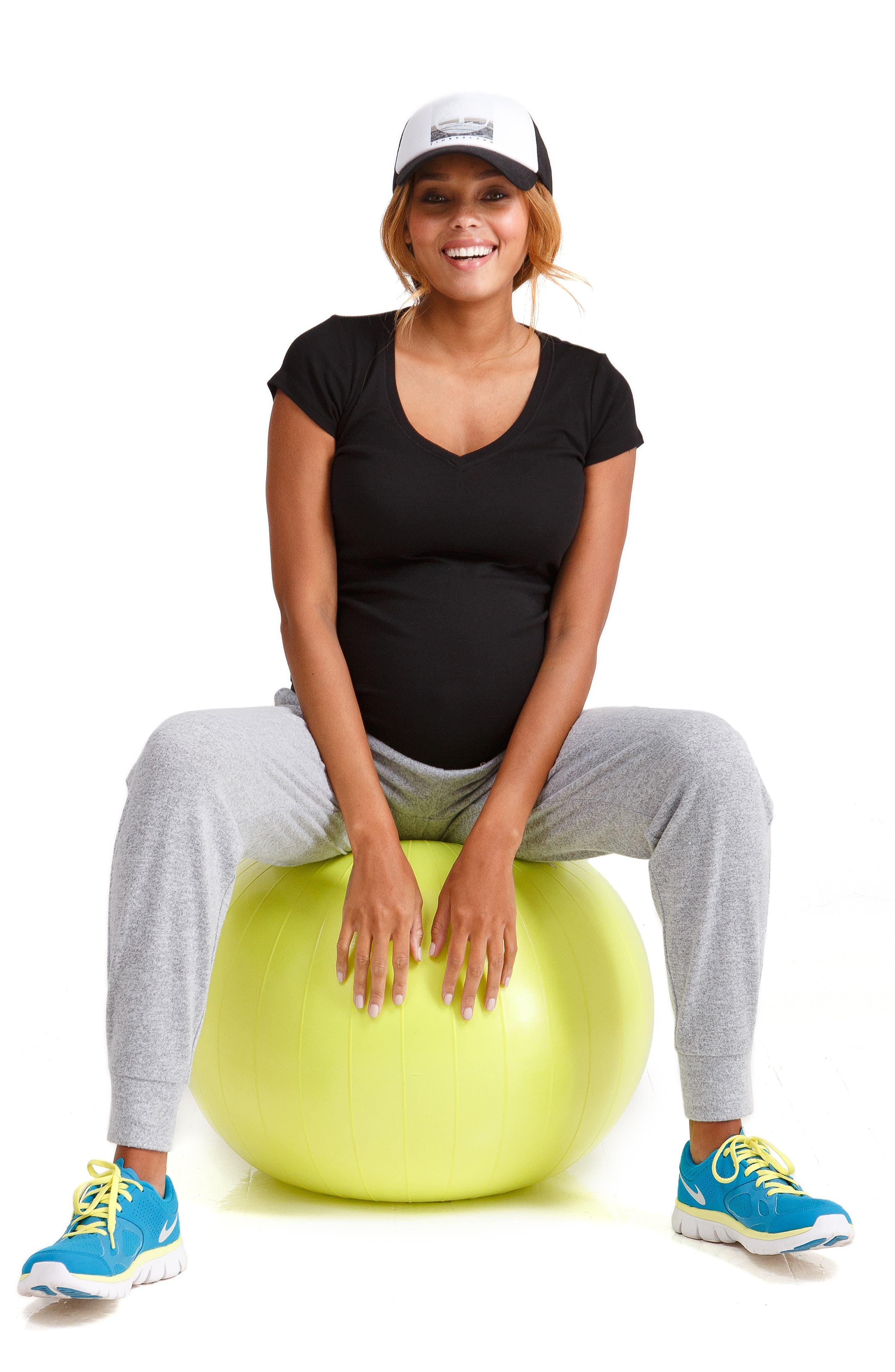 INGRID & ISABEL<SUP>®</SUP>,                             Knit Active Maternity Jogger Pants,                             Alternate thumbnail 5, color,                             LIGHT HEATHER GREY