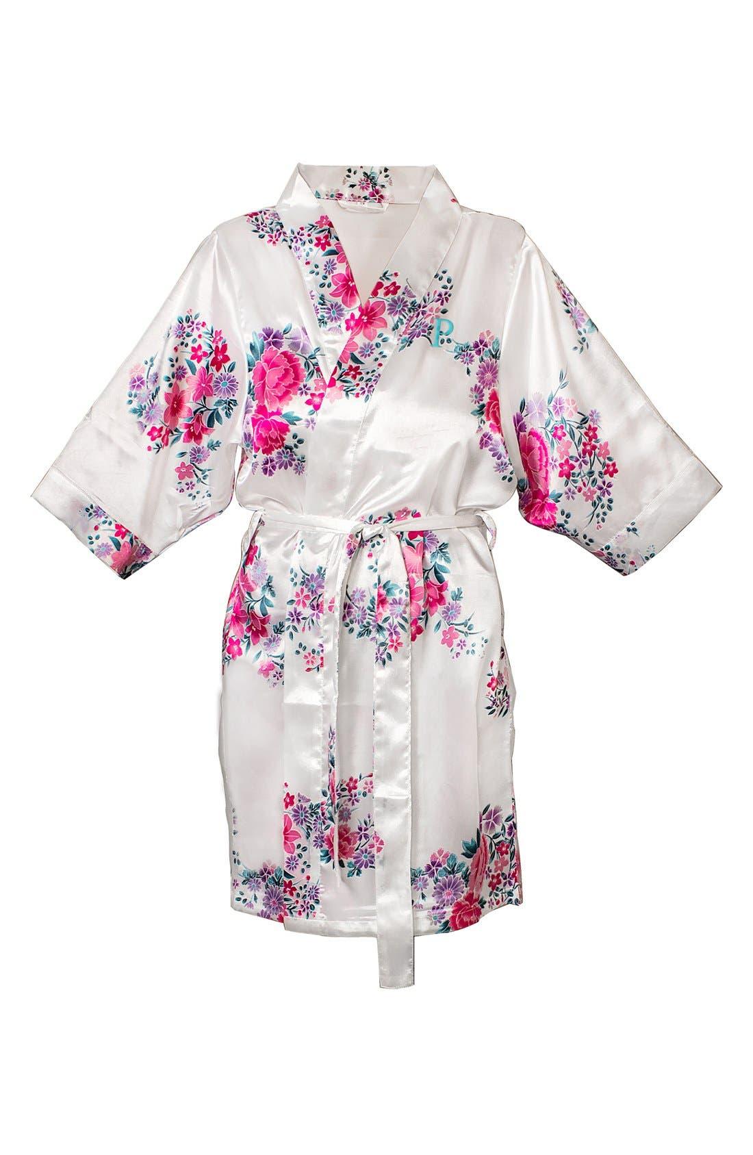 Monogram Floral Satin Robe,                             Main thumbnail 44, color,