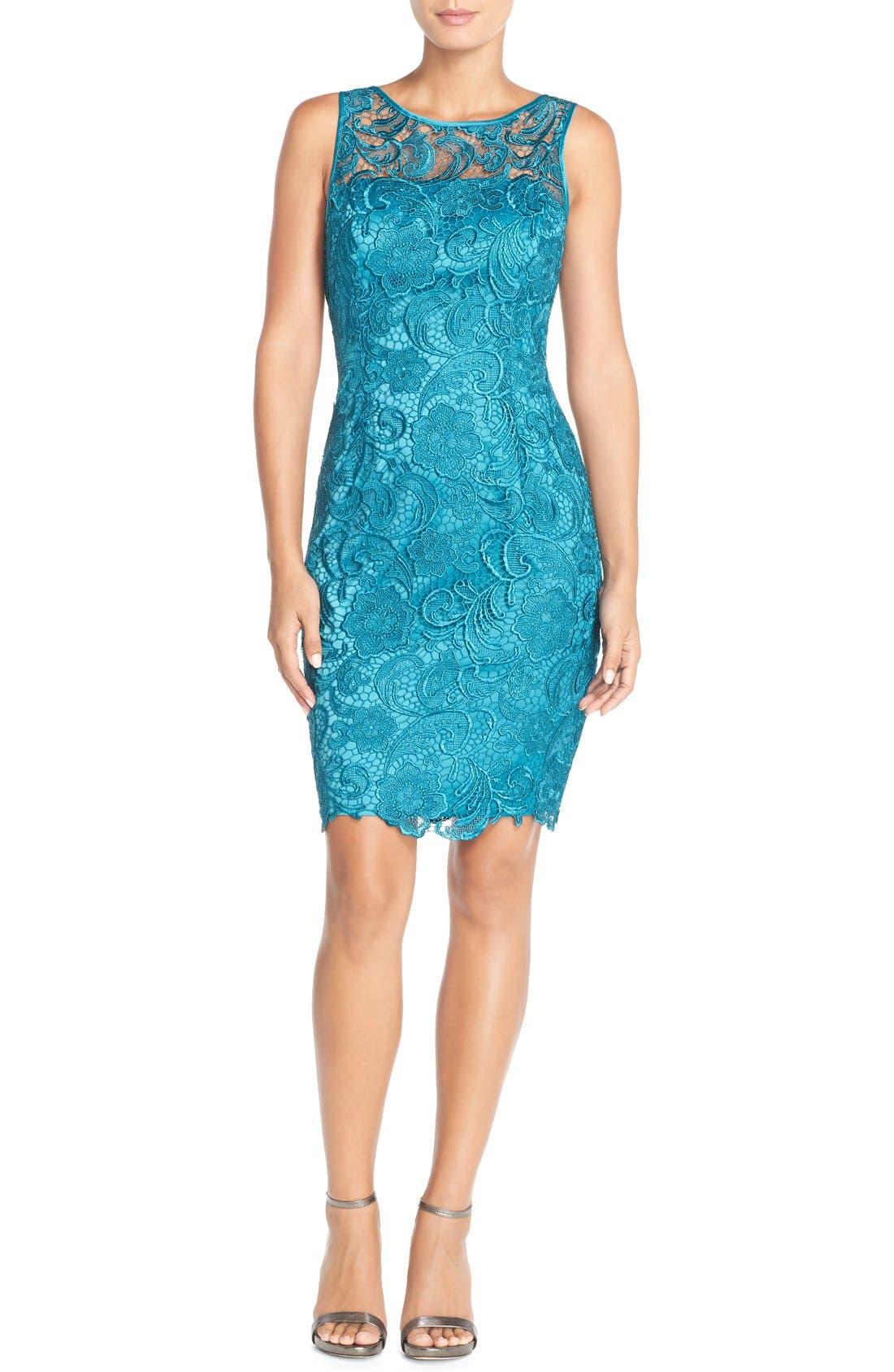 Illusion Bodice Lace Sheath Dress,                             Alternate thumbnail 37, color,