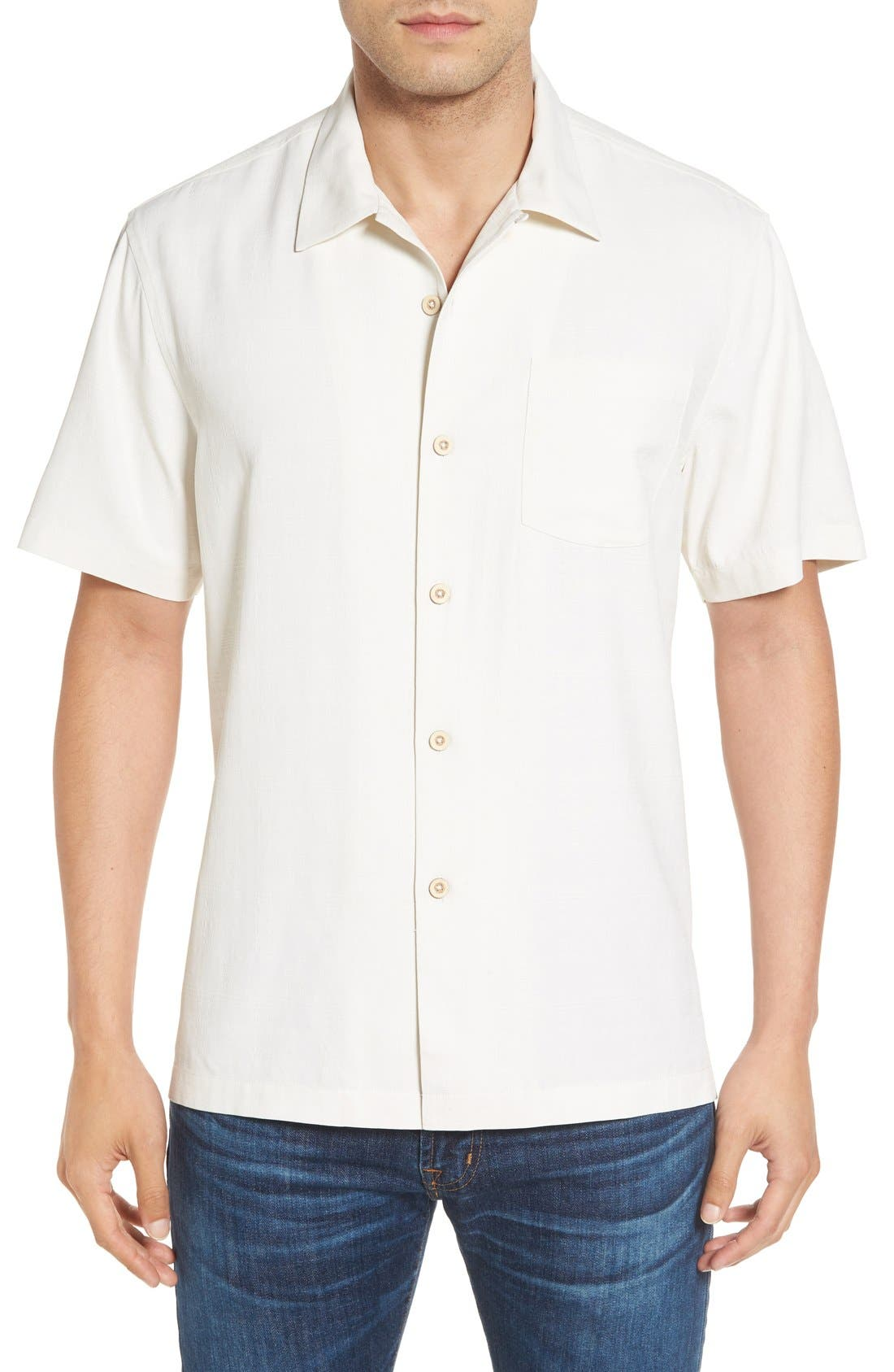 'Geo-Rific Jacquard' Original Fit Silk Camp Shirt,                             Main thumbnail 3, color,
