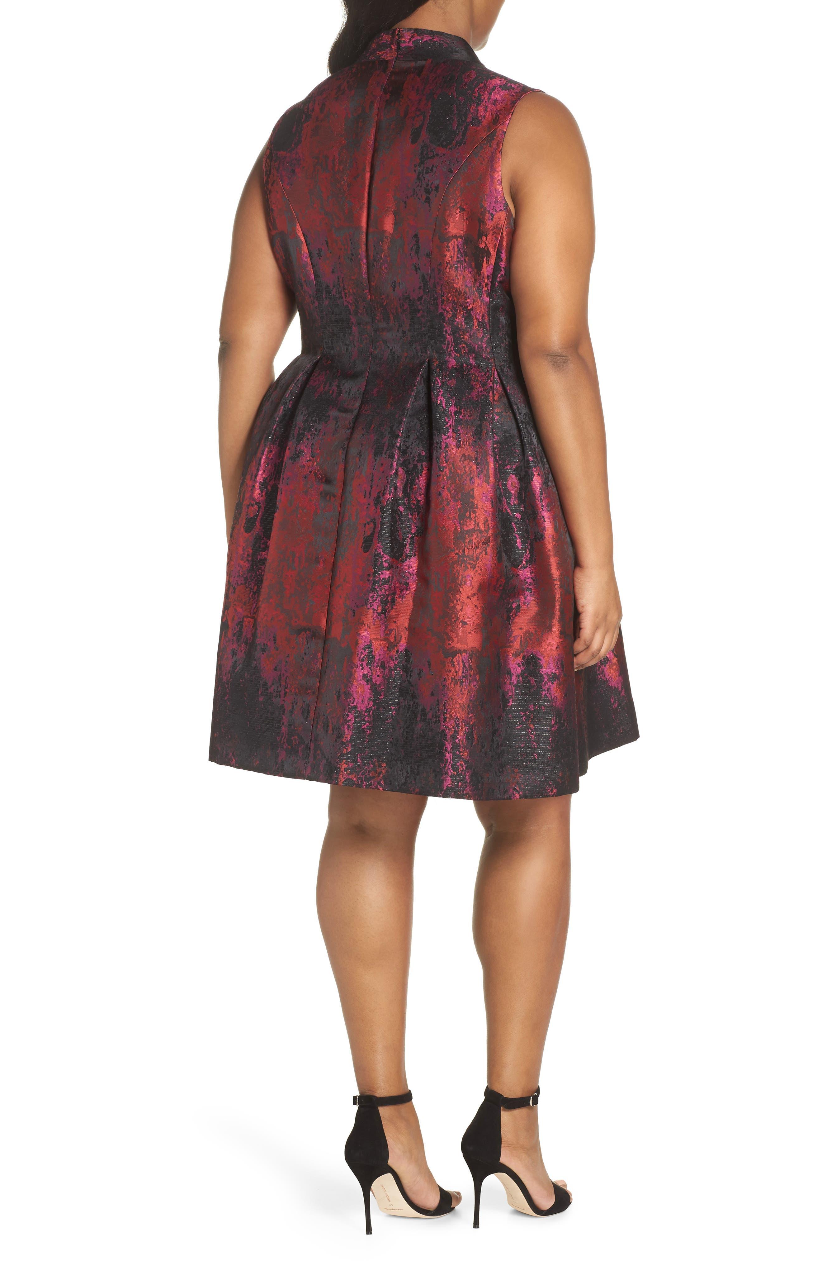 Sleeveless Jacquard Fit & Flare Dress,                             Alternate thumbnail 2, color,                             PINK MULTI