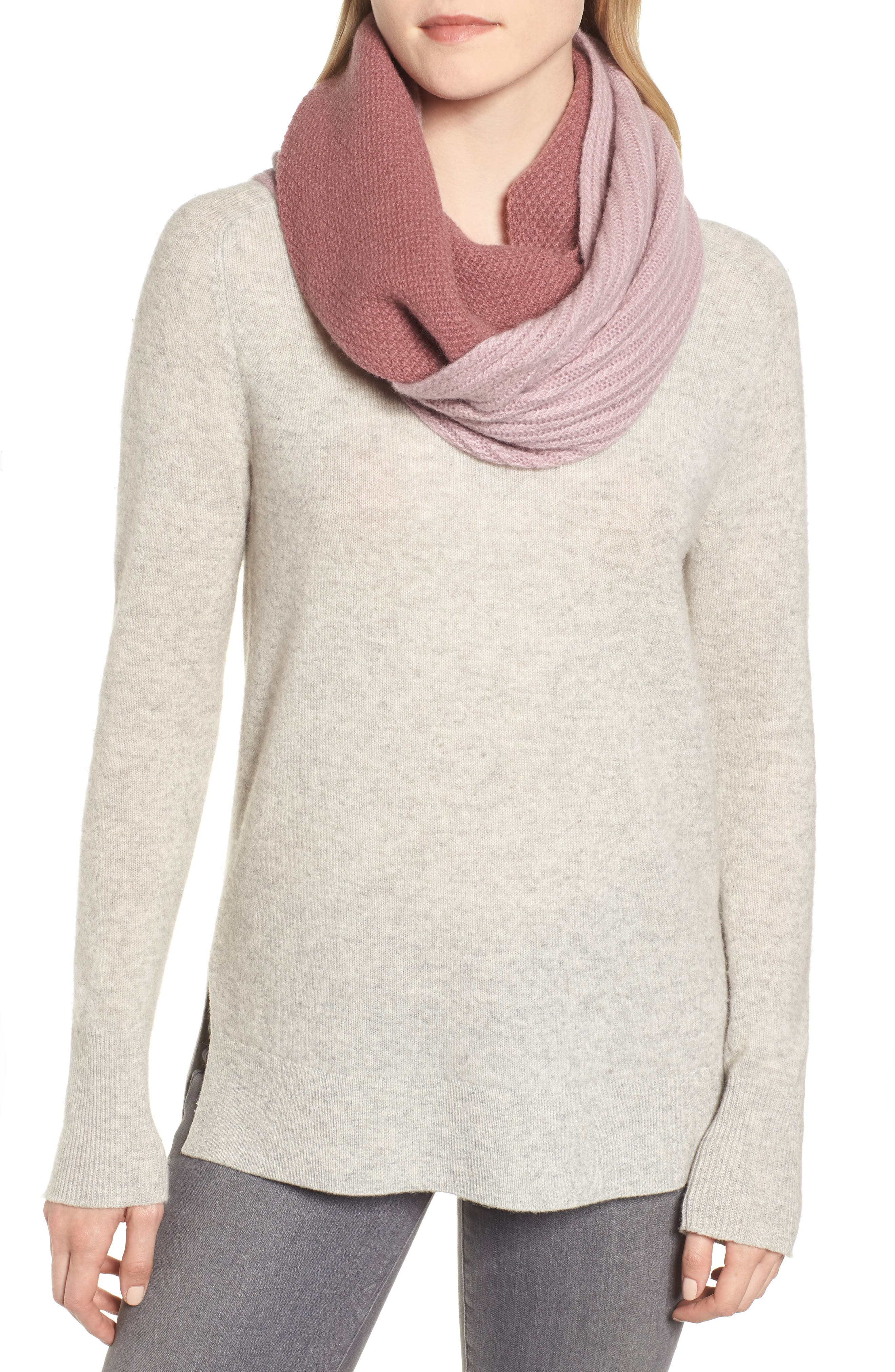 Double Stitch Cashmere Infinity Scarf,                             Main thumbnail 1, color,                             BURGUNDY COMBO
