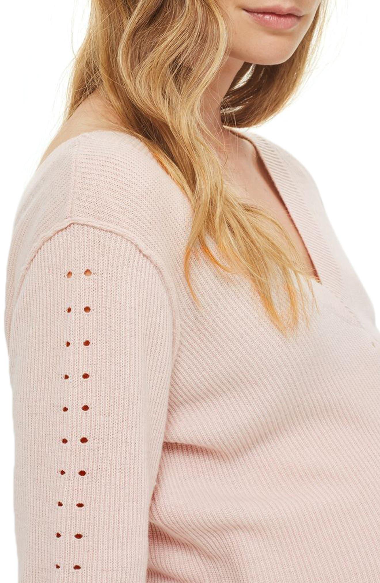 Pointelle Maternity Sweater,                             Alternate thumbnail 3, color,                             680