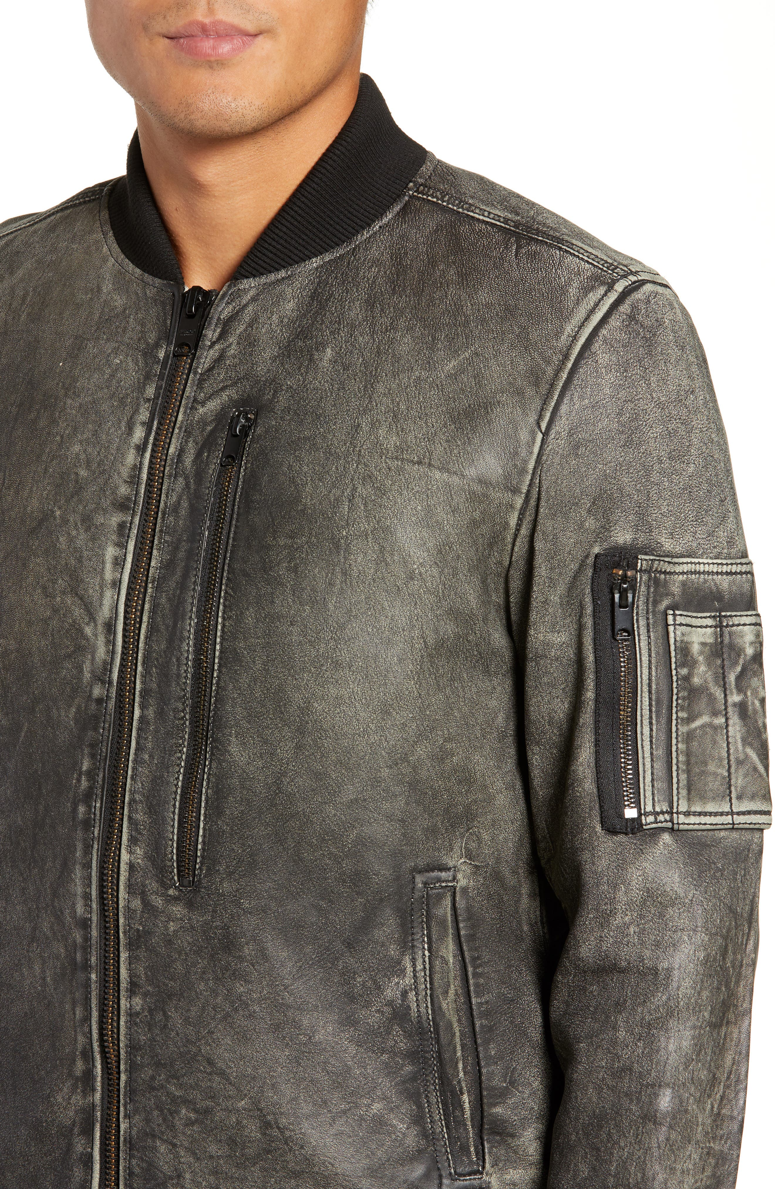 Hudson Leather Bomber Jacket,                             Alternate thumbnail 4, color,                             063