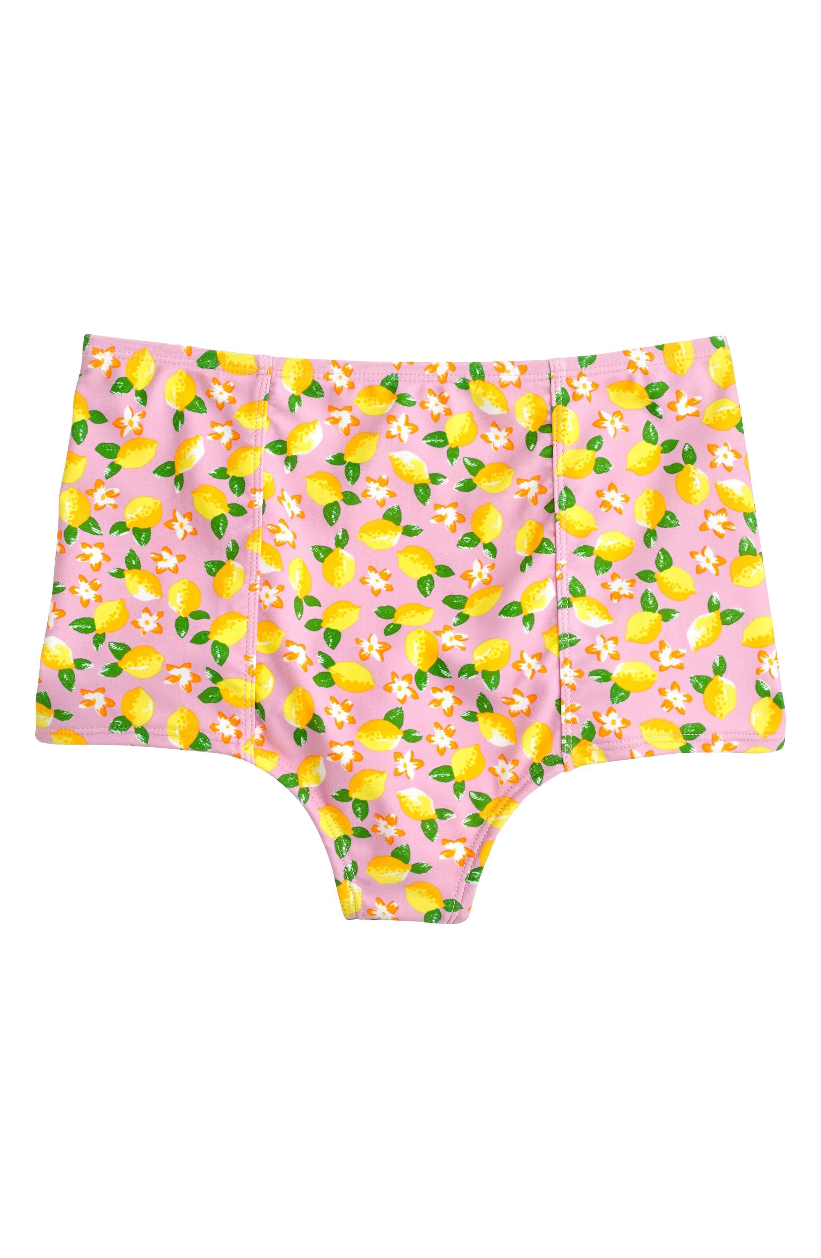 Lemon Print High Waist Bikini Bottoms,                             Alternate thumbnail 3, color,                             702