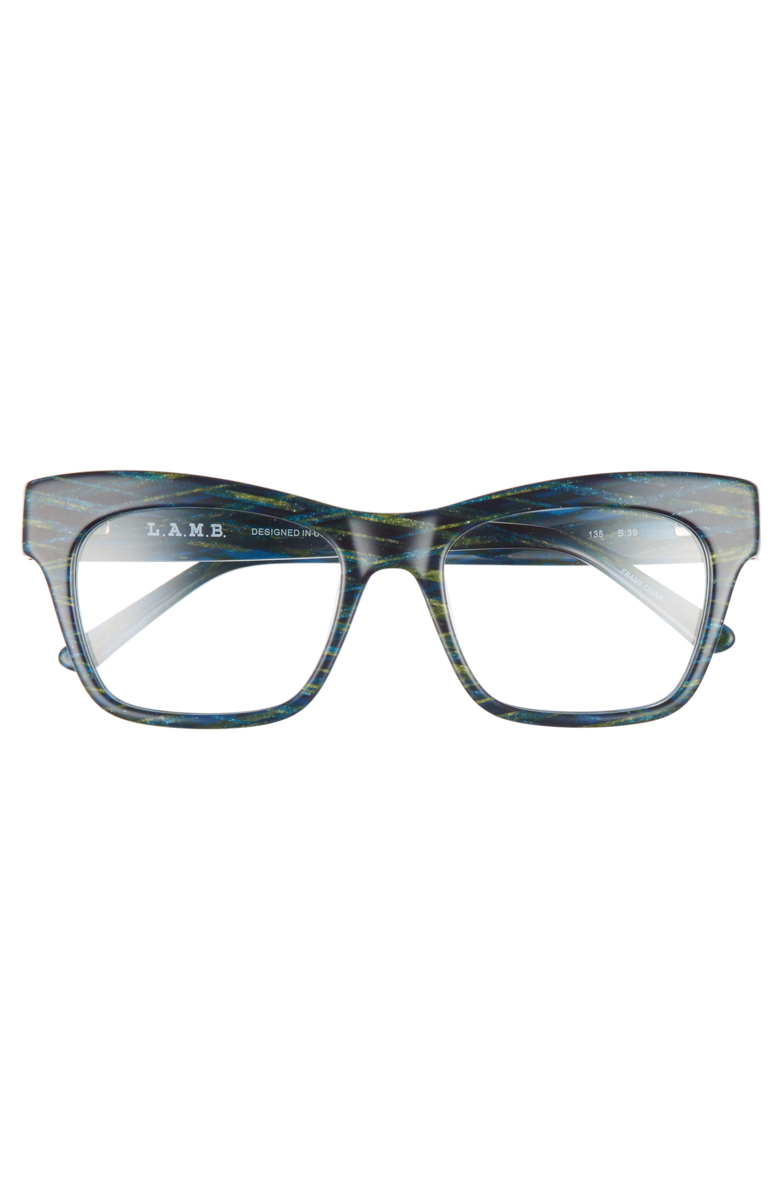 50mm Optical Rectangular Glasses,                             Alternate thumbnail 3, color,                             400