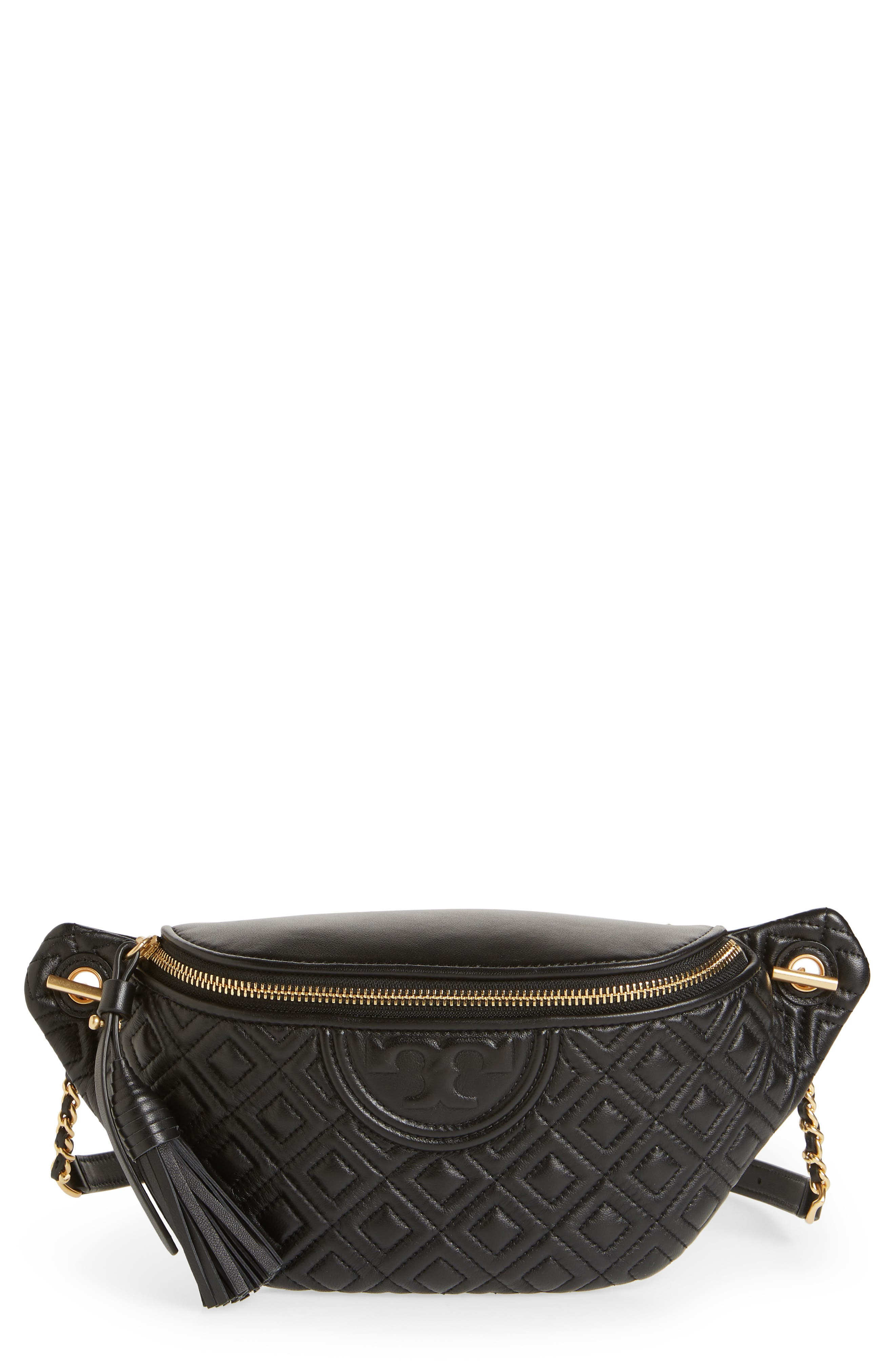 Fleming Quilted Leather Belt Bag,                             Main thumbnail 1, color,                             BLACK