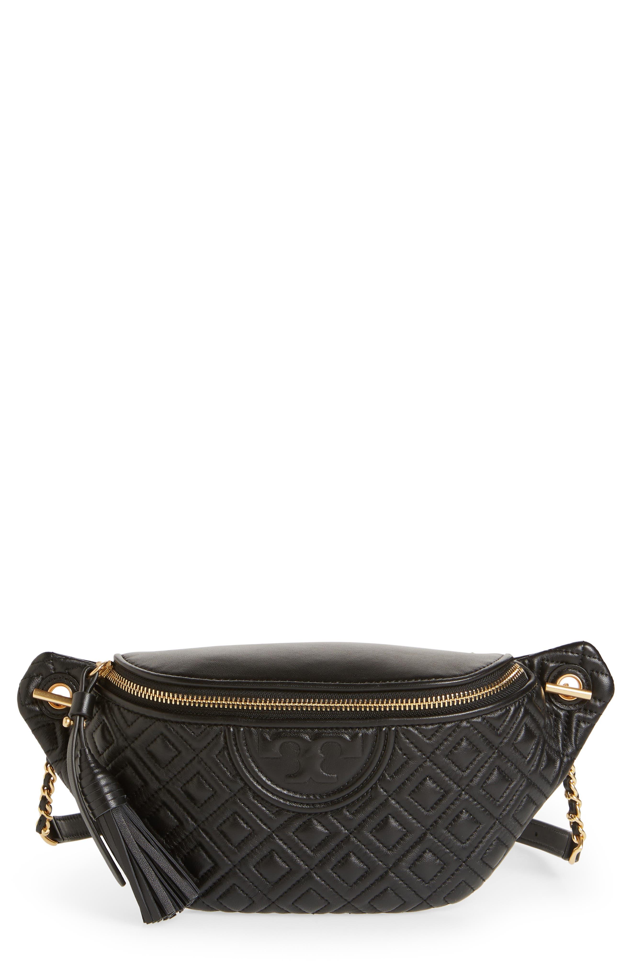 Fleming Quilted Leather Belt Bag, Main, color, BLACK