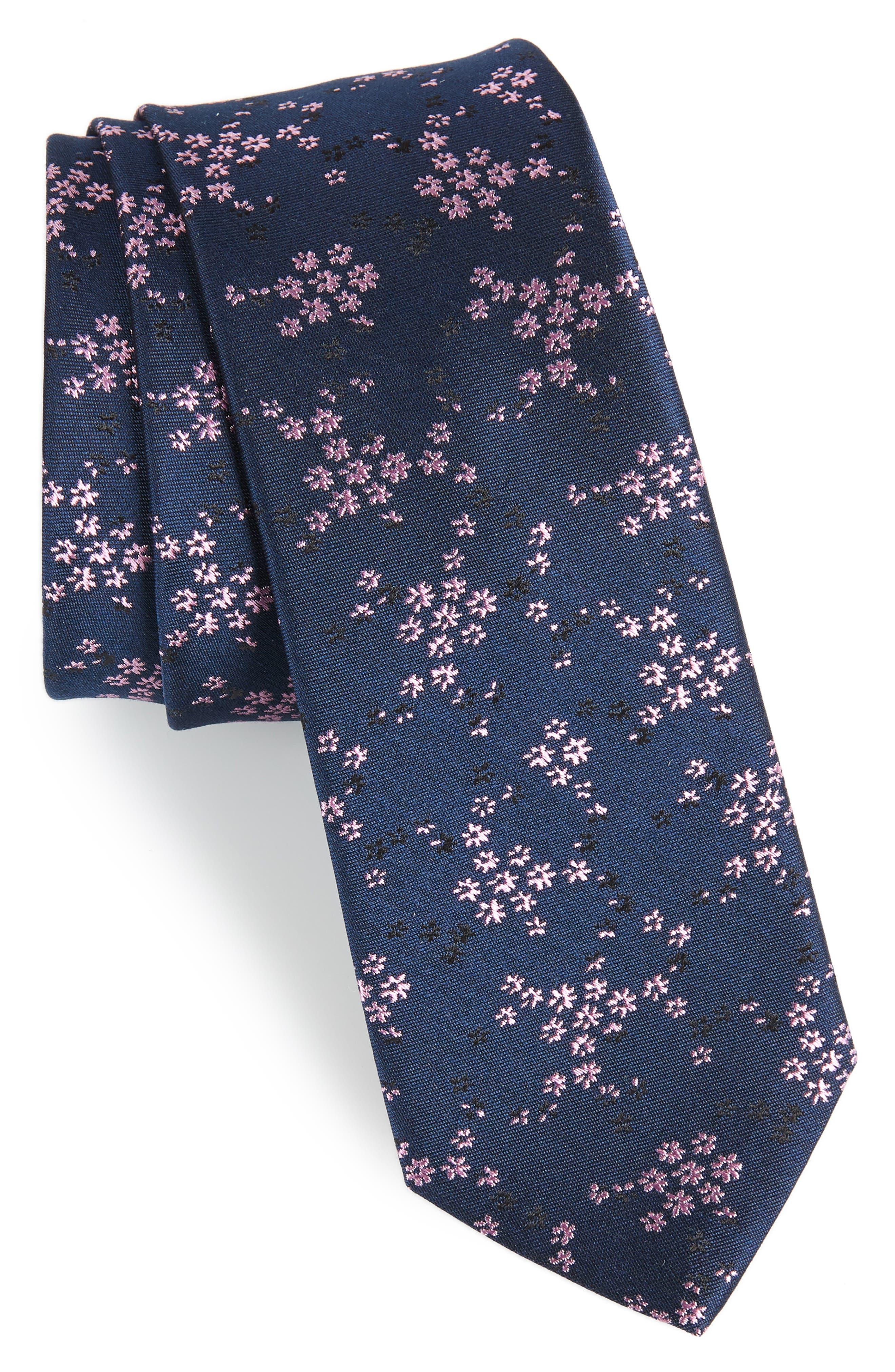 Floral Silk Tie,                         Main,                         color, 415