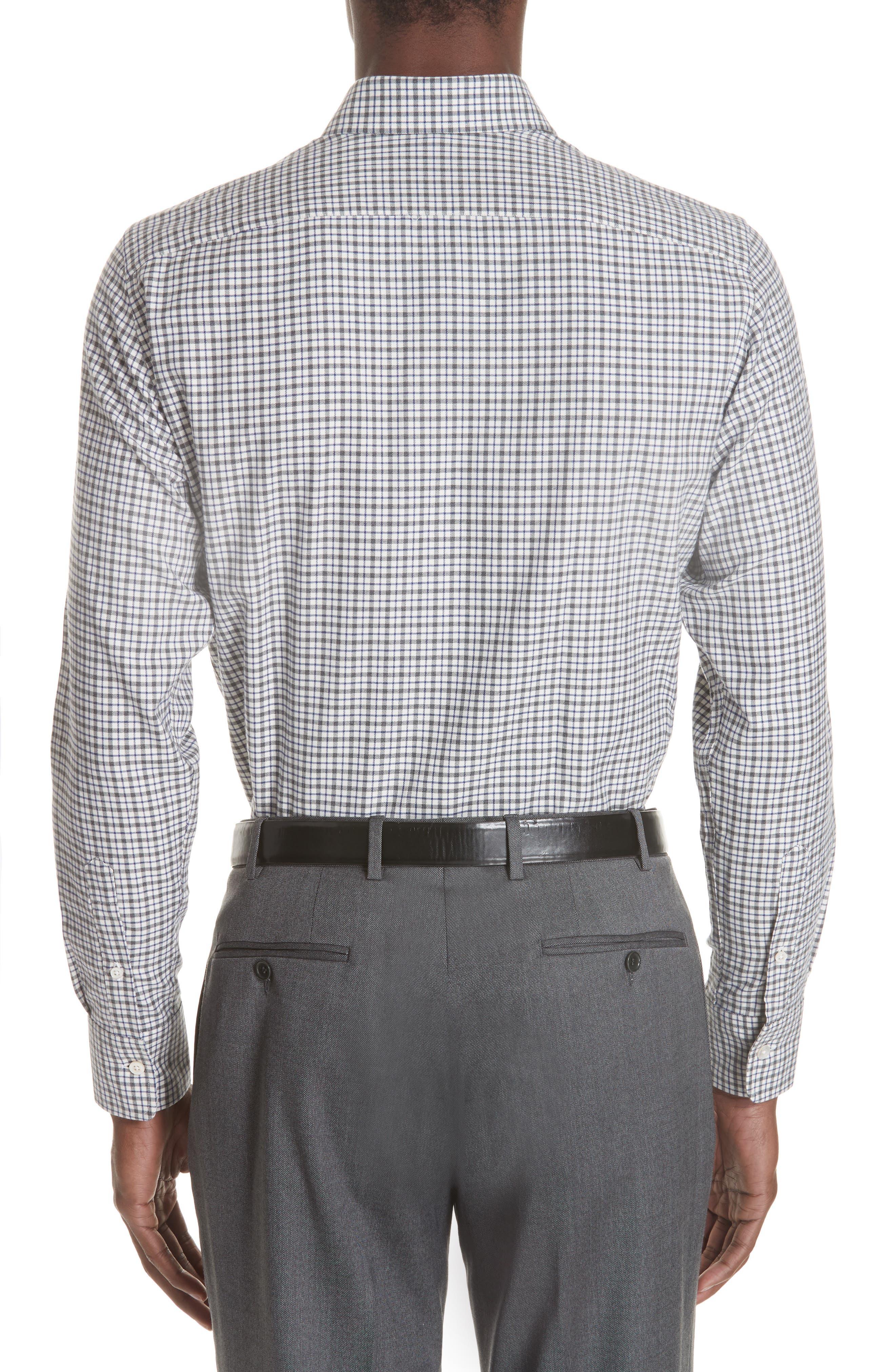 Regular Fit Check Dress Shirt,                             Alternate thumbnail 3, color,                             GREY