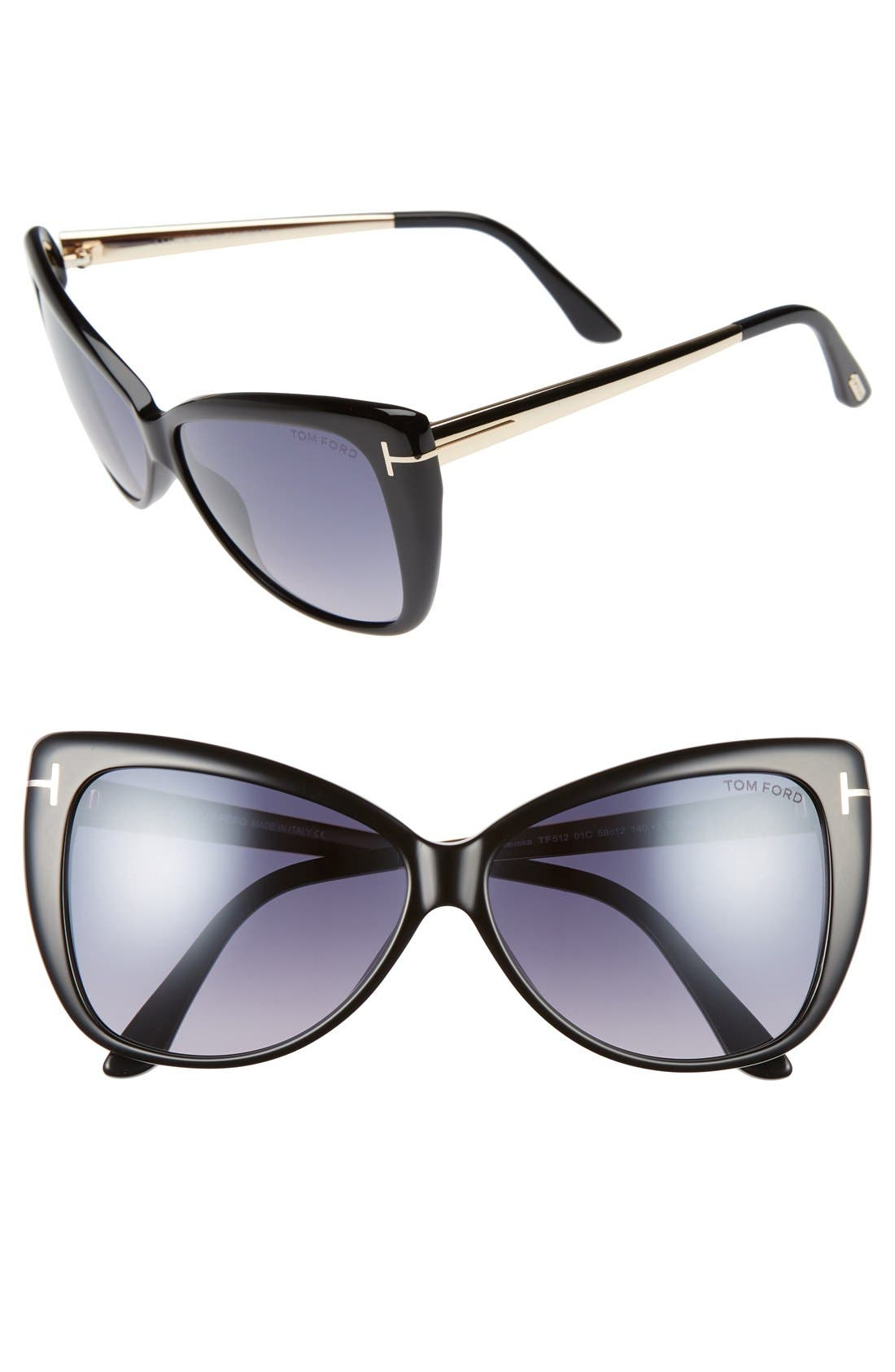 Reveka 59mm Special Fit Butterfly Sunglasses,                         Main,                         color, 001
