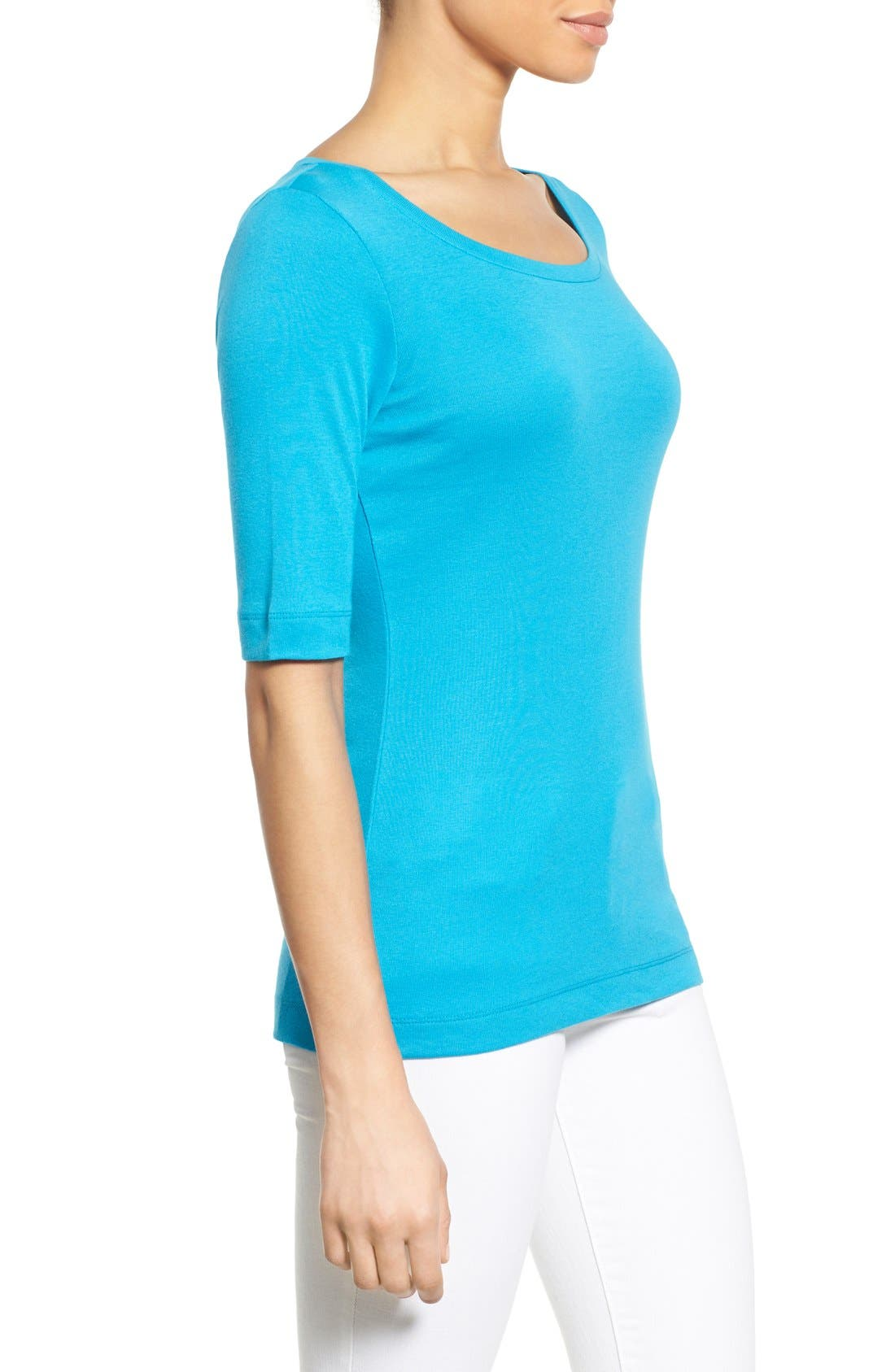 Ballet Neck Cotton & Modal Knit Elbow Sleeve Tee,                             Alternate thumbnail 136, color,
