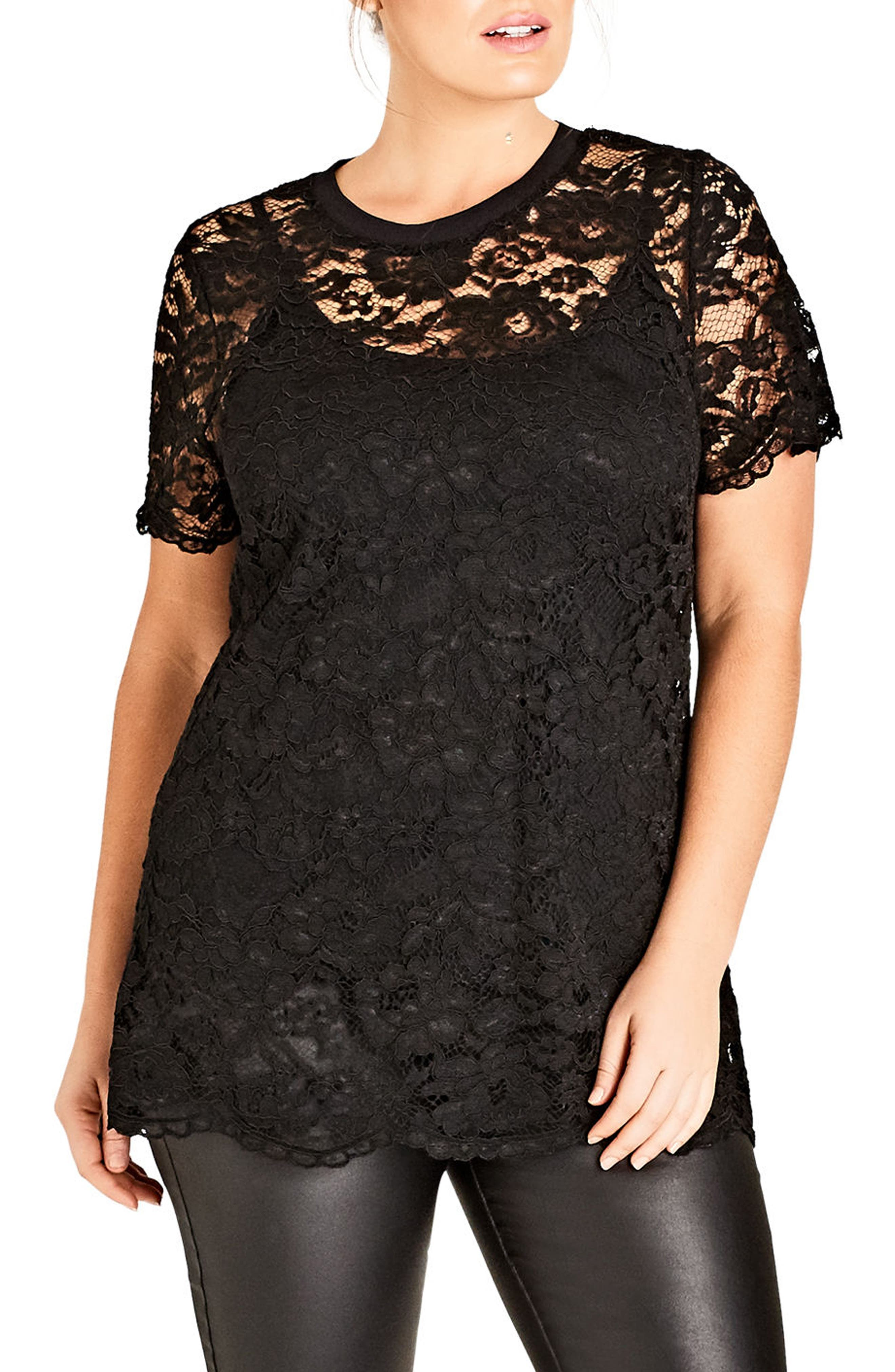Lace Tee,                         Main,                         color, 001