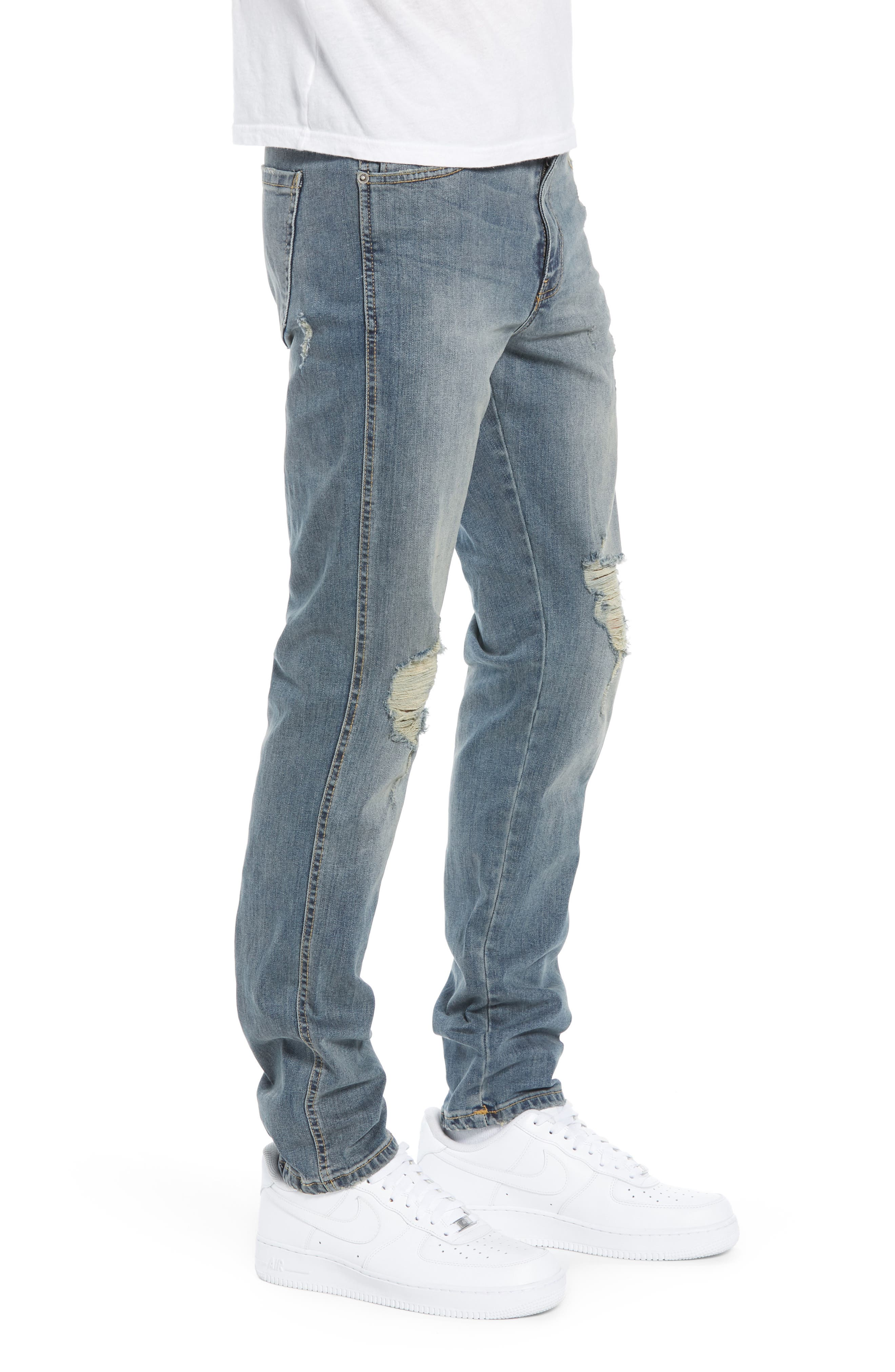 Snap Skinny Fit Jeans,                             Alternate thumbnail 3, color,                             LIGHT OLD DESTROY