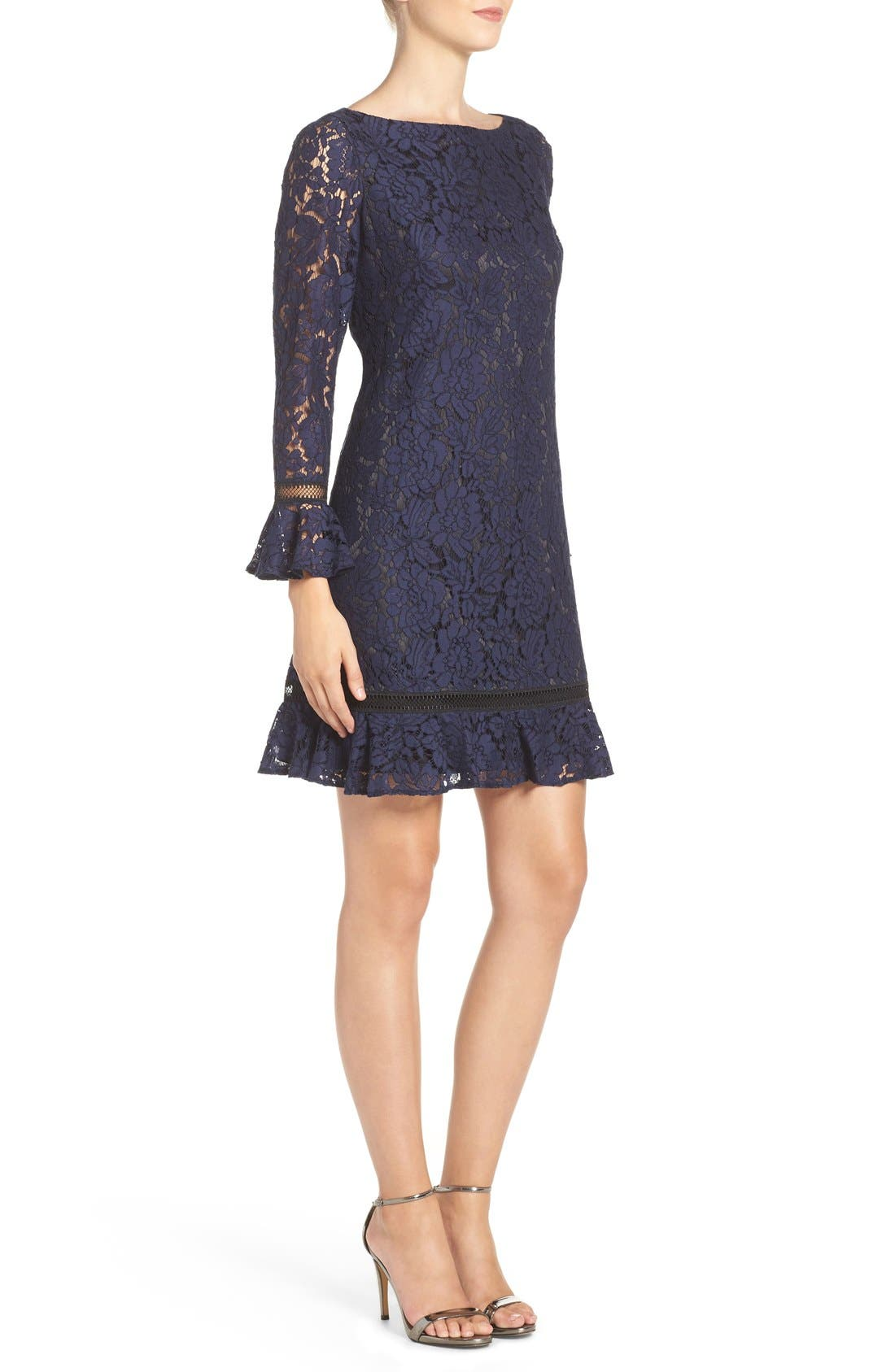 Lace Shift Dress,                             Alternate thumbnail 4, color,                             410