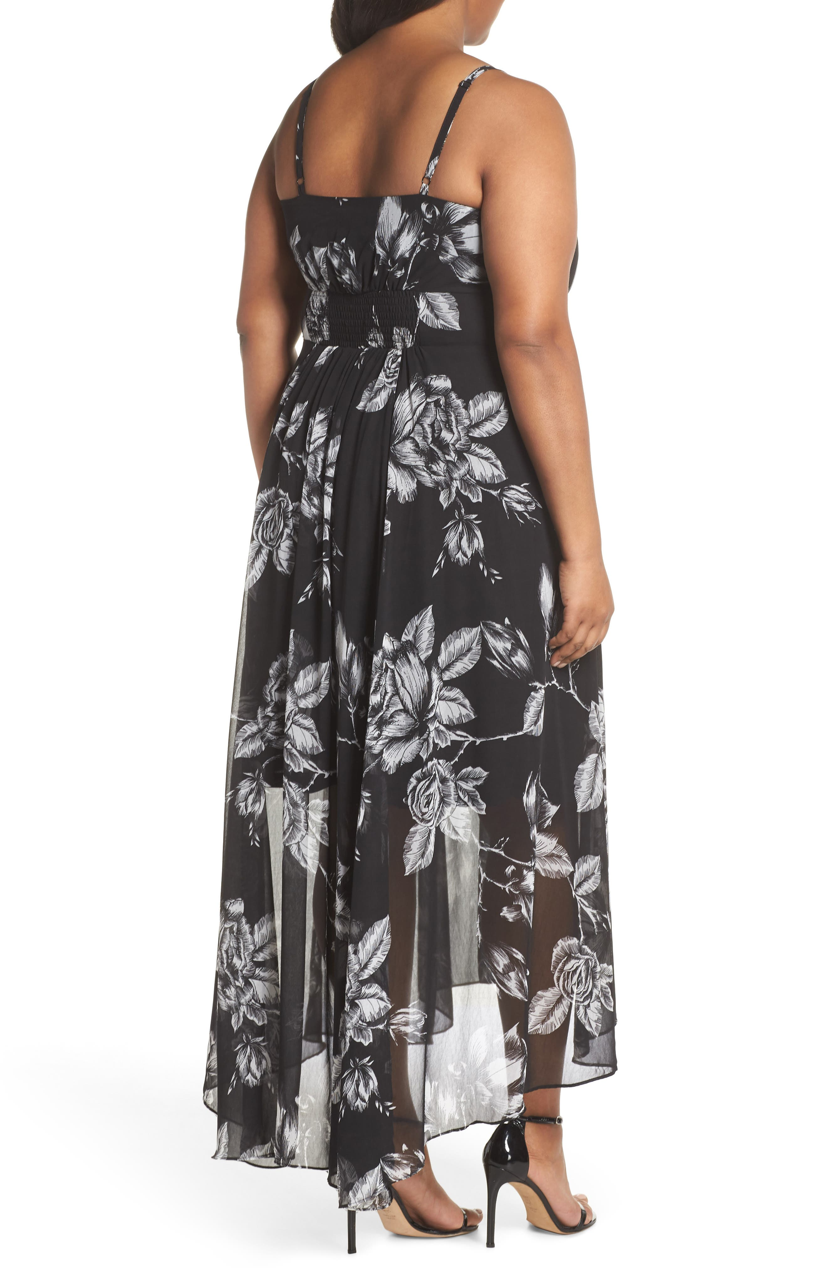 CITY CHIC,                             Mono Rose Maxi Dress,                             Alternate thumbnail 2, color,                             MONO ROSE