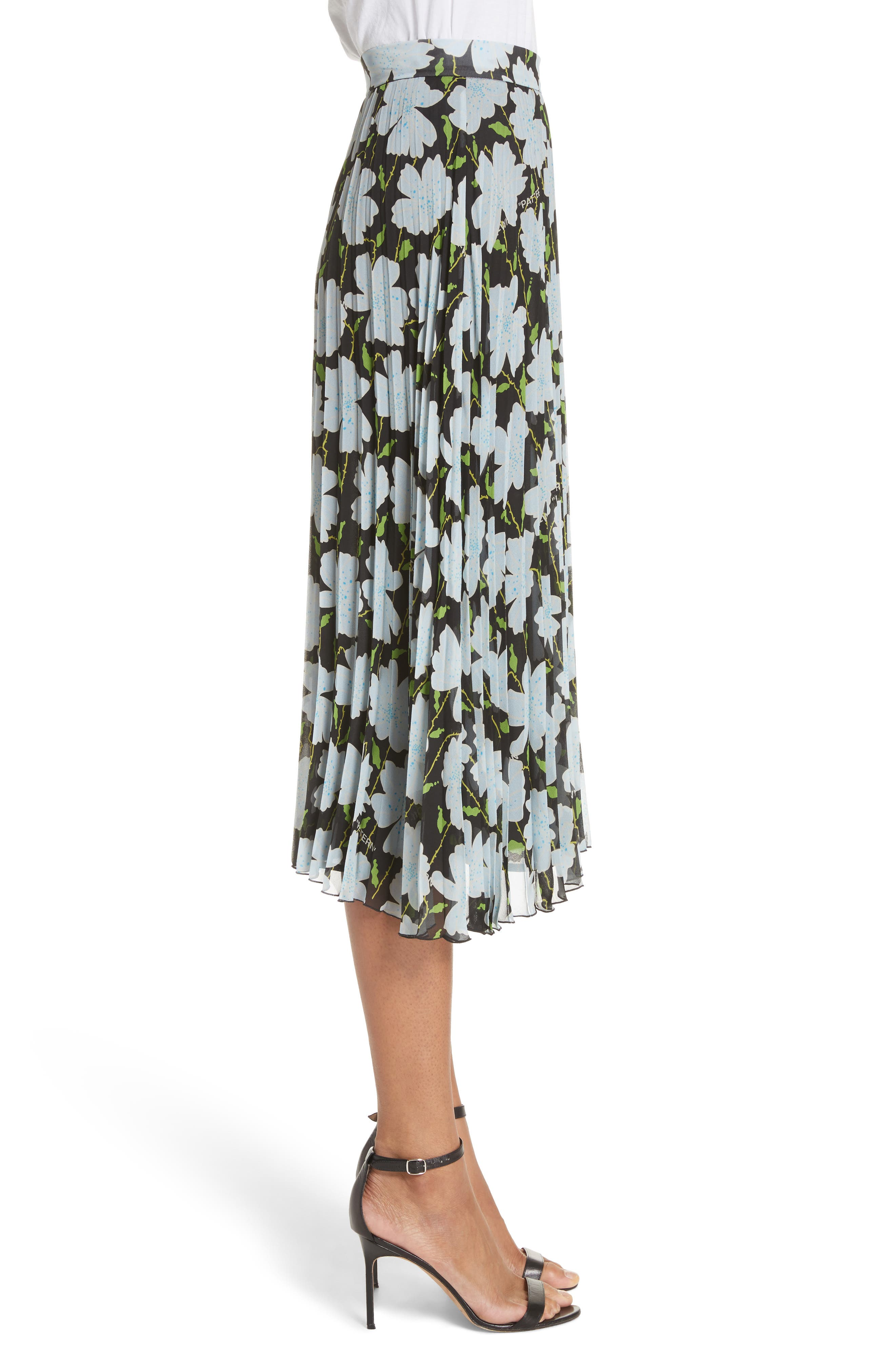 Floral Plissé Silk Skirt,                             Alternate thumbnail 3, color,                             001