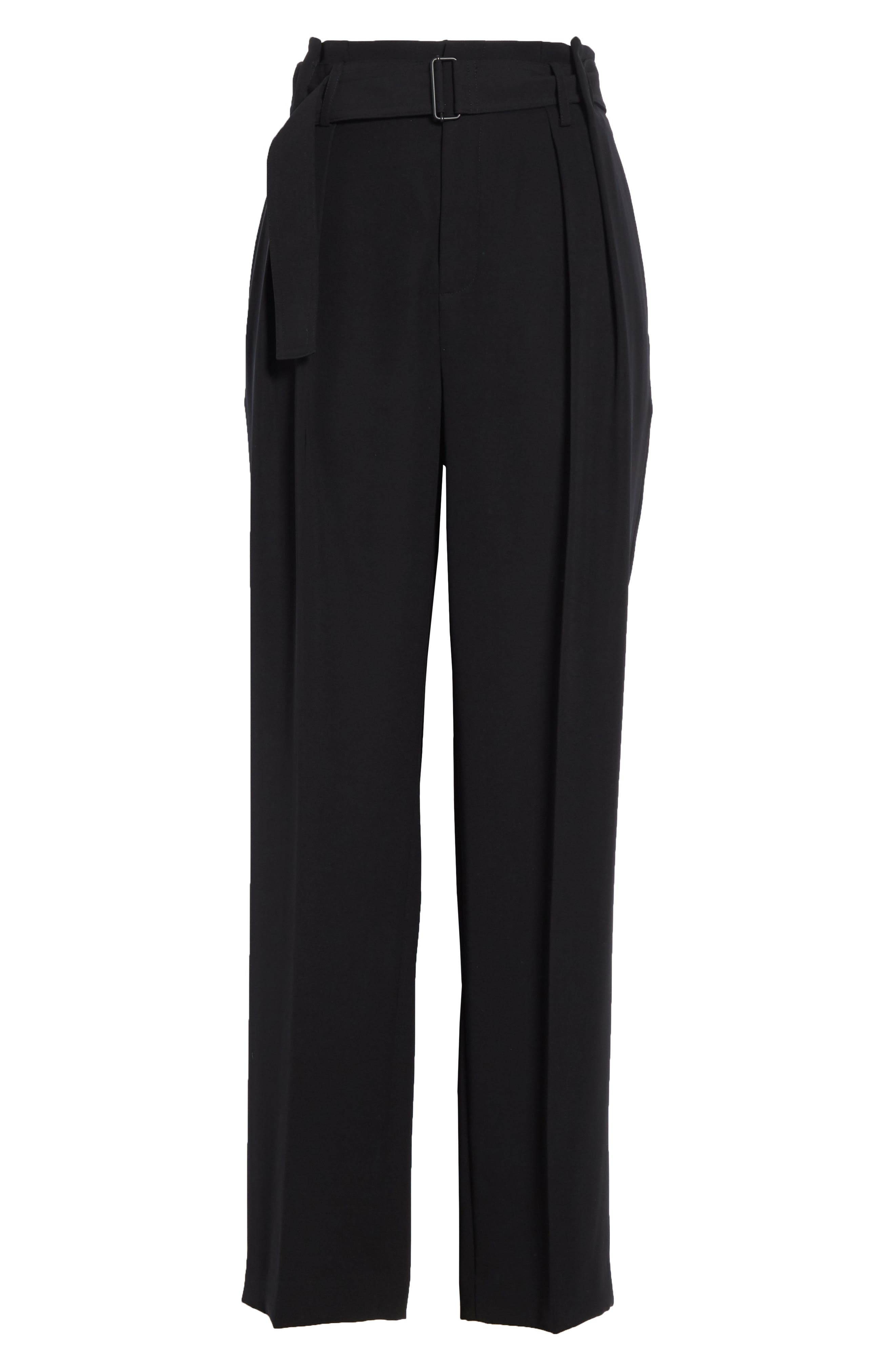 VINCE,                             Belted Wide Leg Pants,                             Alternate thumbnail 6, color,                             BLACK