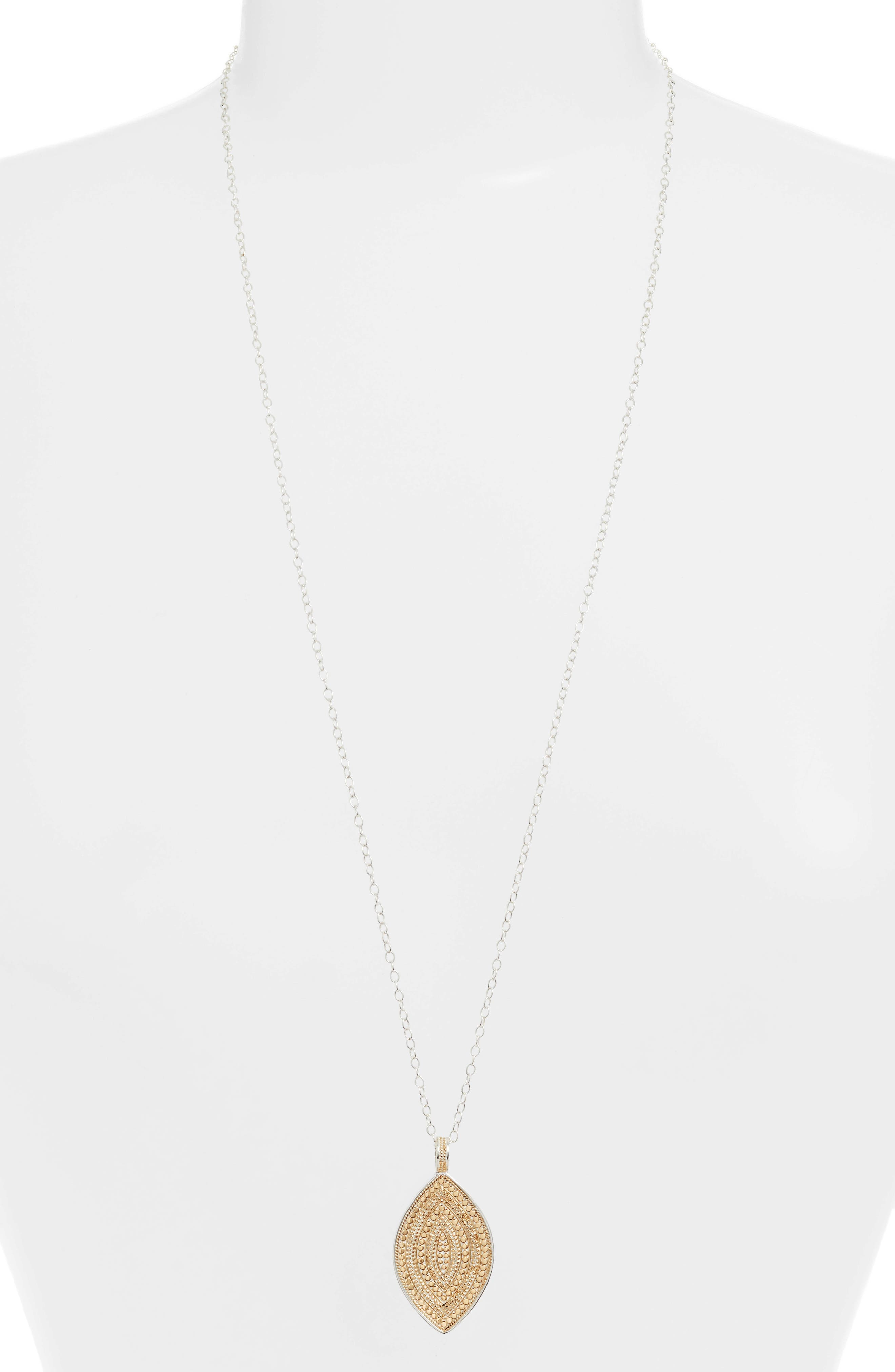 ANNA BECK Reversible Beaded Marquise Pendant Necklace in Gold/ Silver