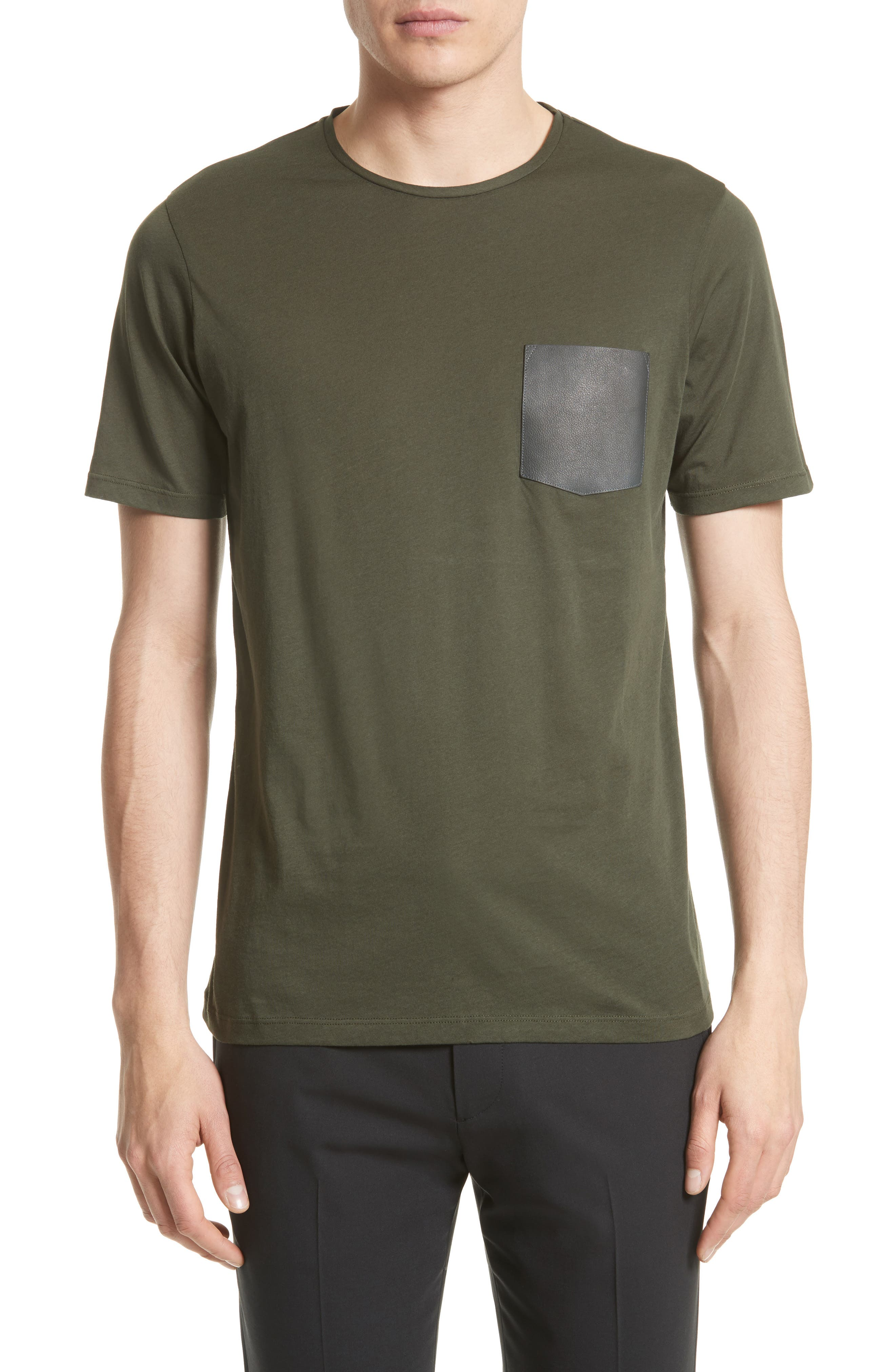 Leather Pocket T-Shirt,                             Main thumbnail 1, color,                             300