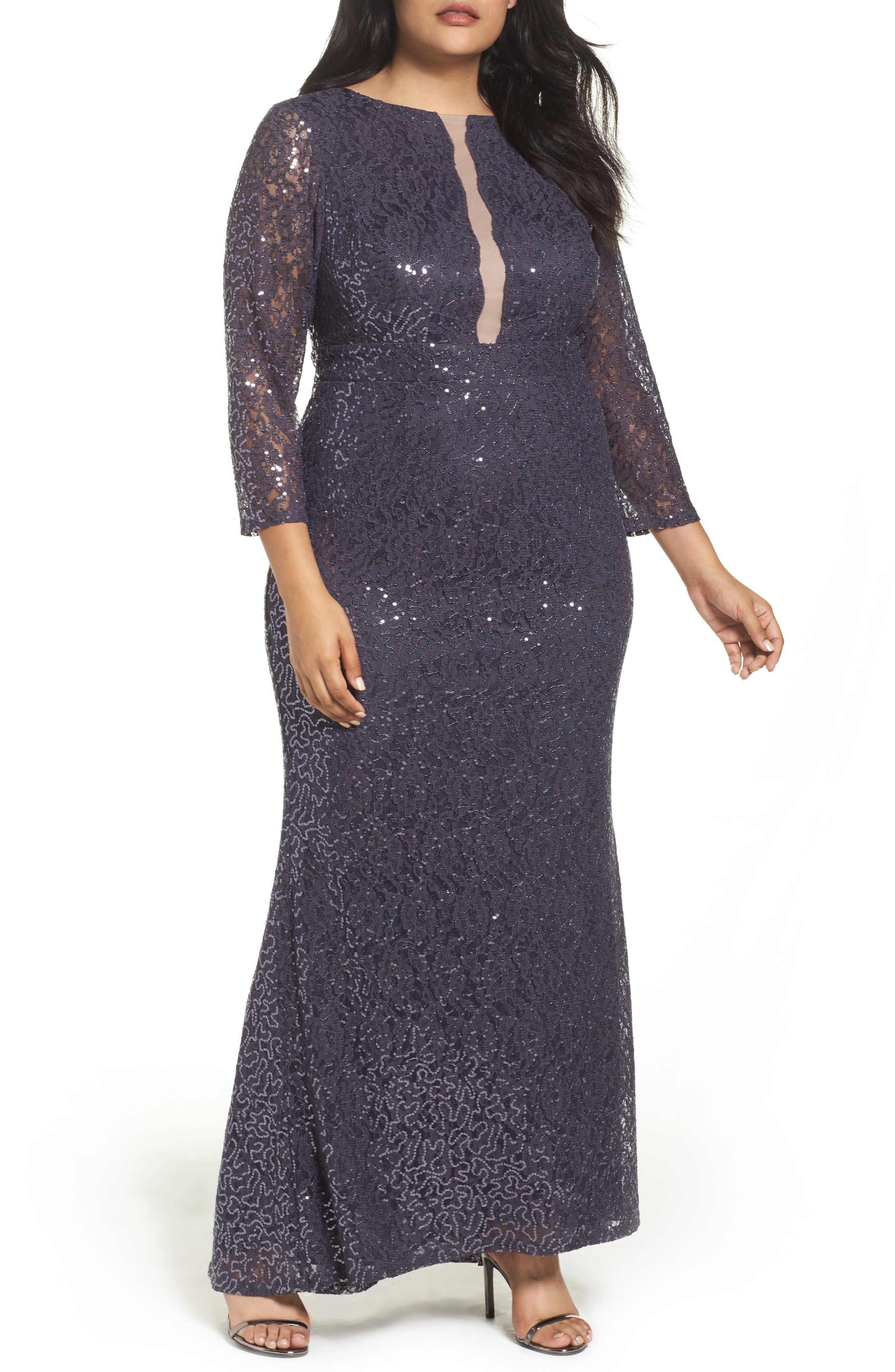 Sequin Lace A-Line Gown,                             Main thumbnail 1, color,                             GUNMETAL