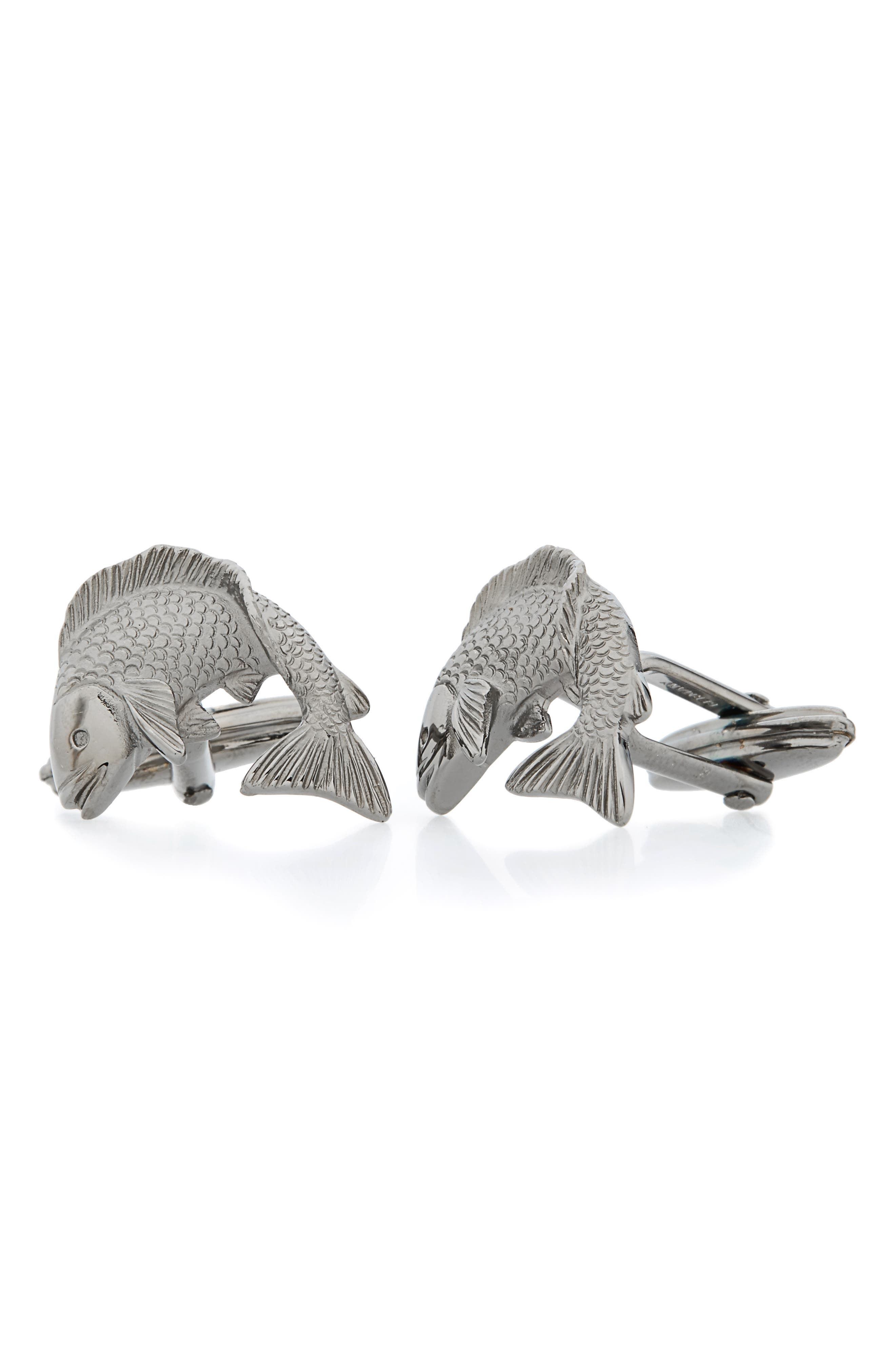 Fish Cuff Links,                         Main,                         color, RUTHENIUM PLATED