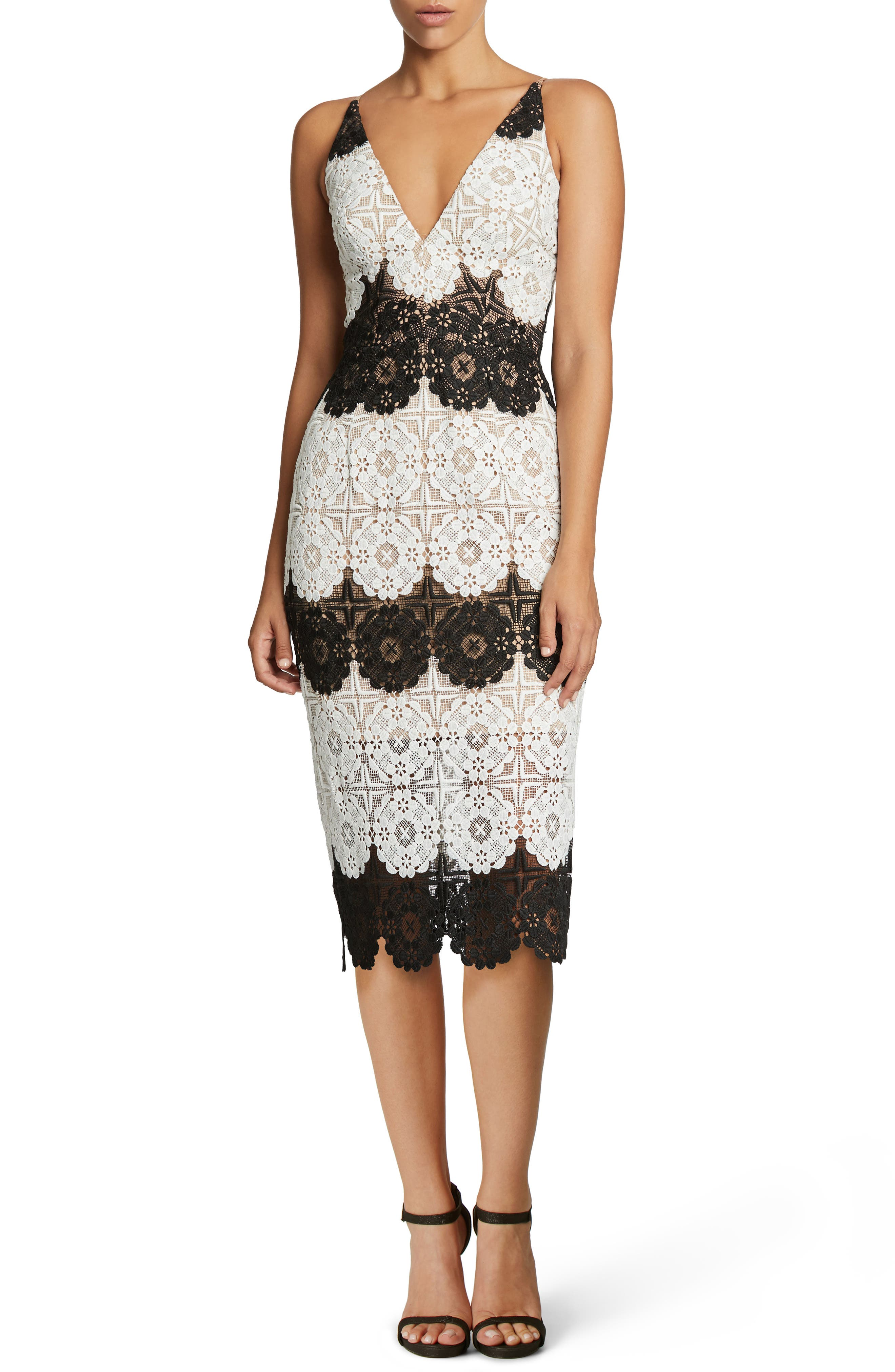 Vera Crochet Stripe Sheath Dress,                             Alternate thumbnail 5, color,                             011