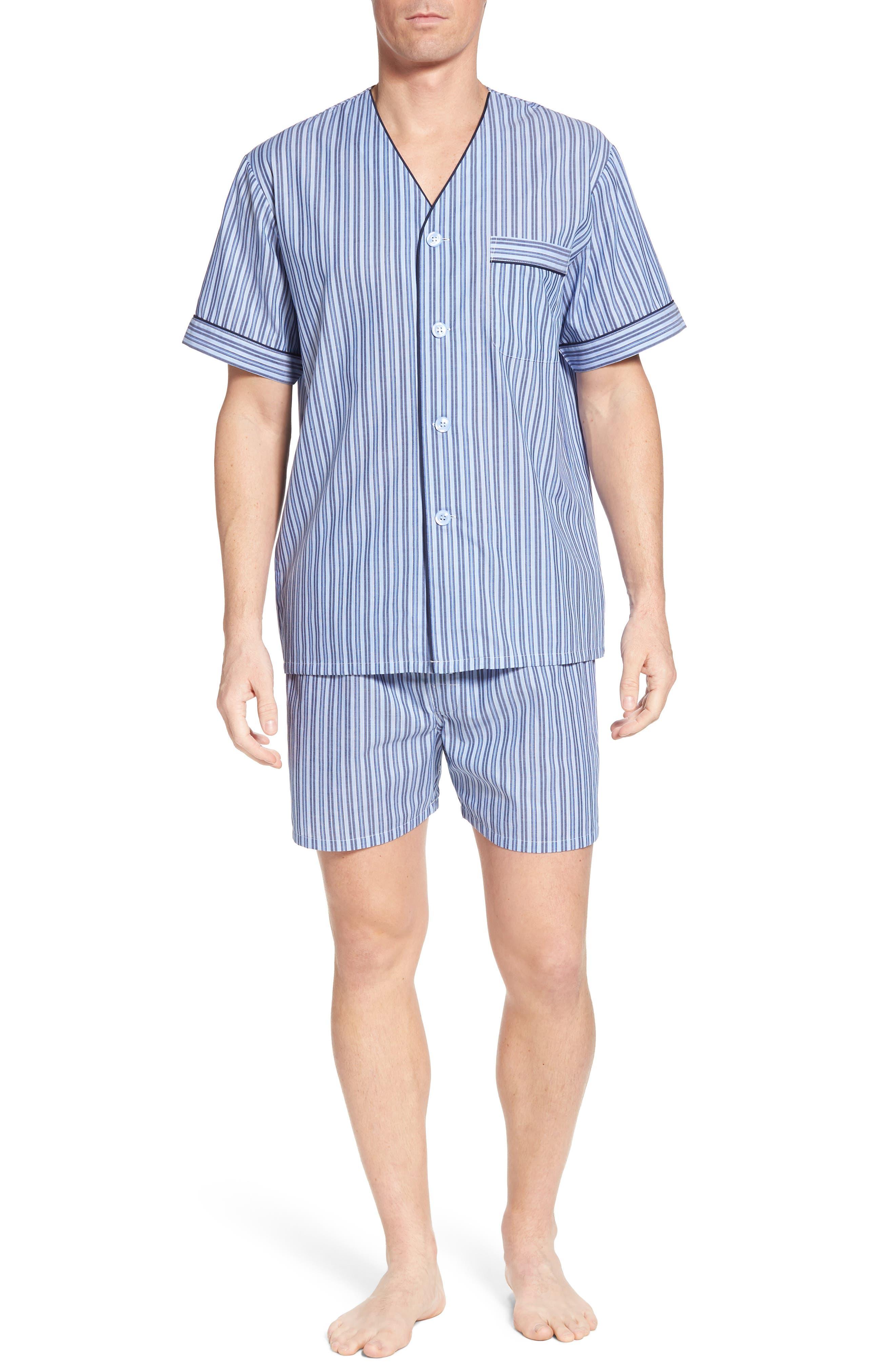 Carefree Shorty Pajama Set,                         Main,                         color, BLUE STRIPE