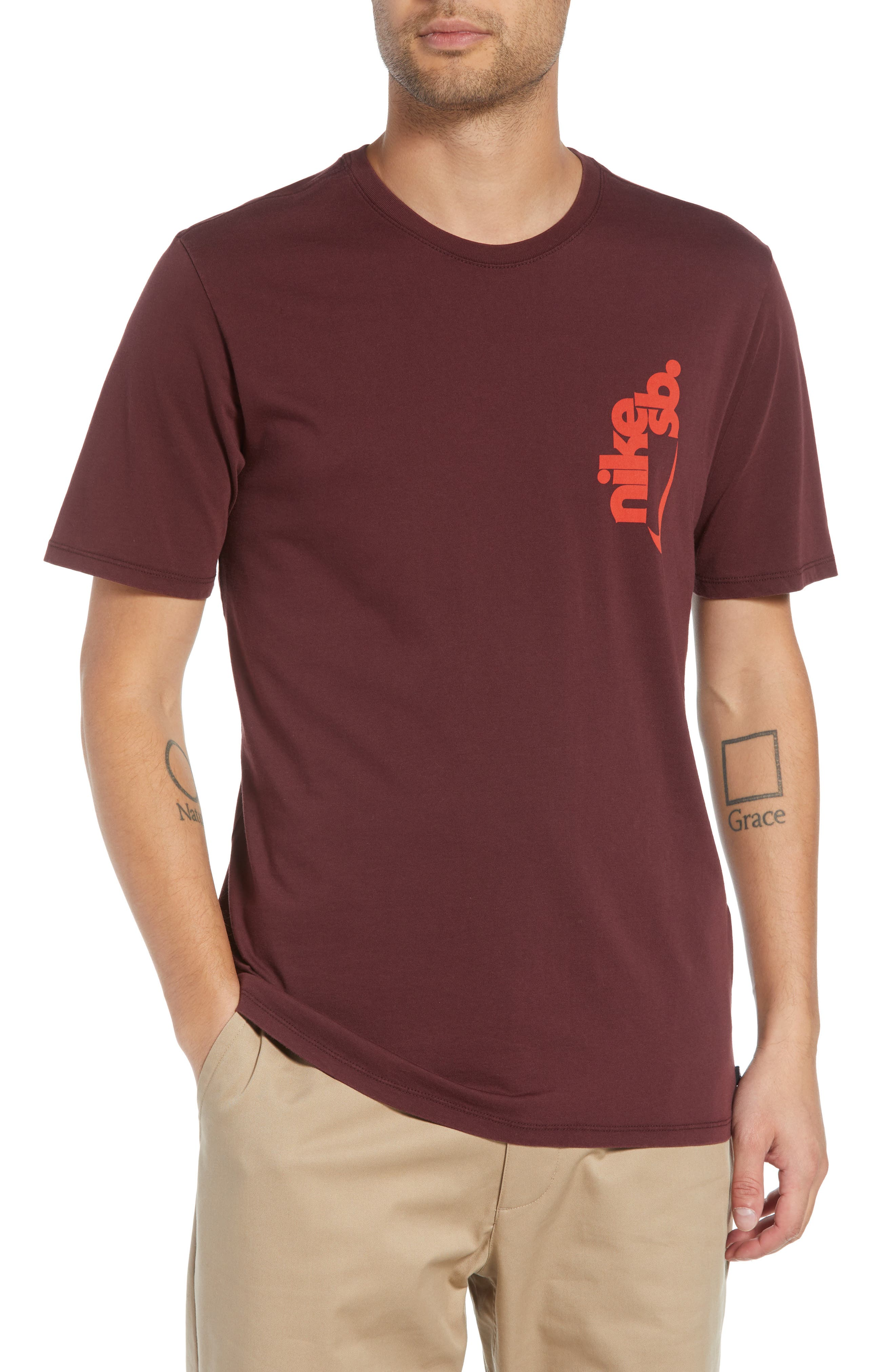 Crewneck T-Shirt,                         Main,                         color, BURGUNDY CRUSH/ HABANERO RED