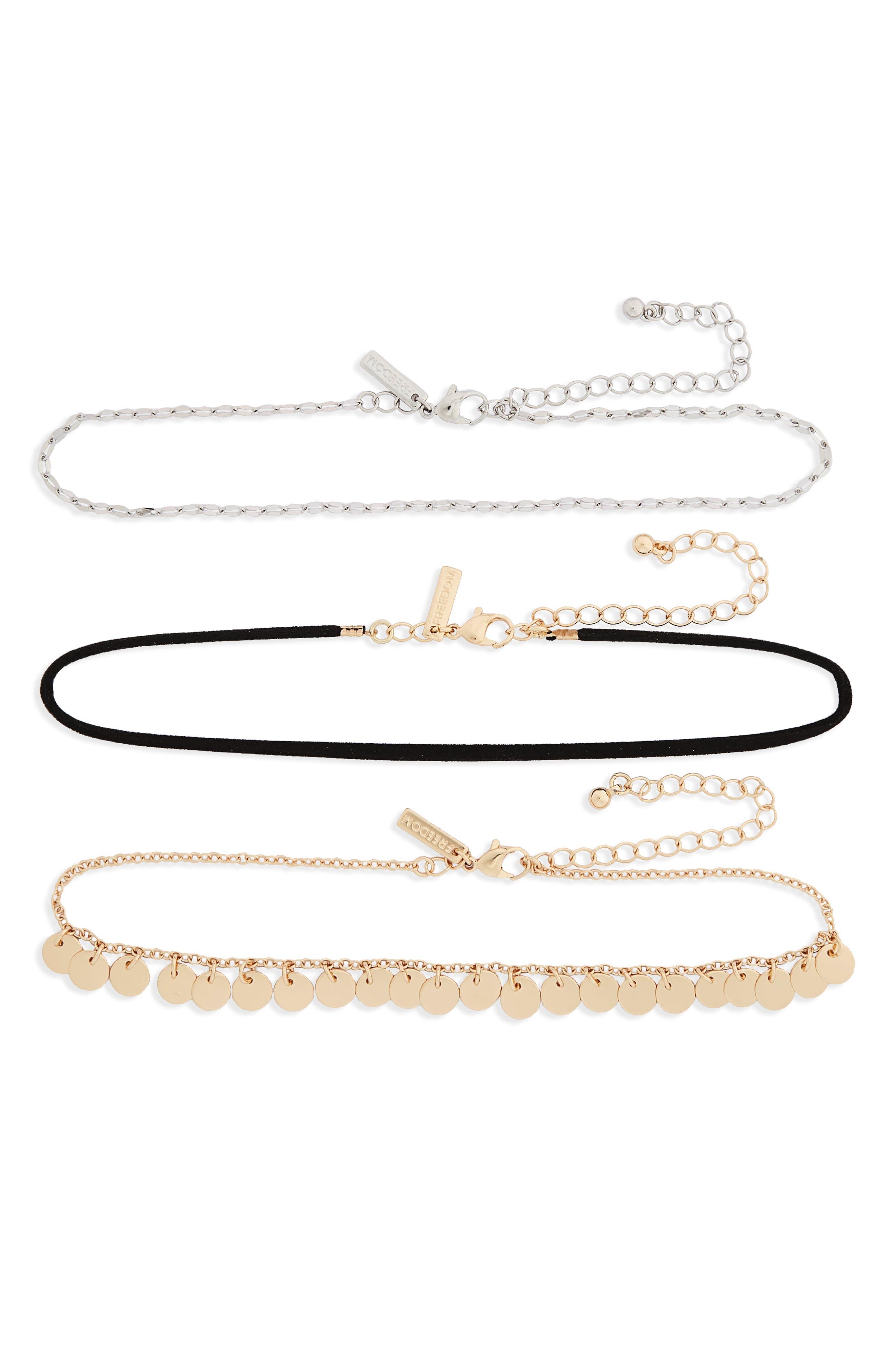 3-Pack Choker Necklaces,                             Main thumbnail 1, color,                             710