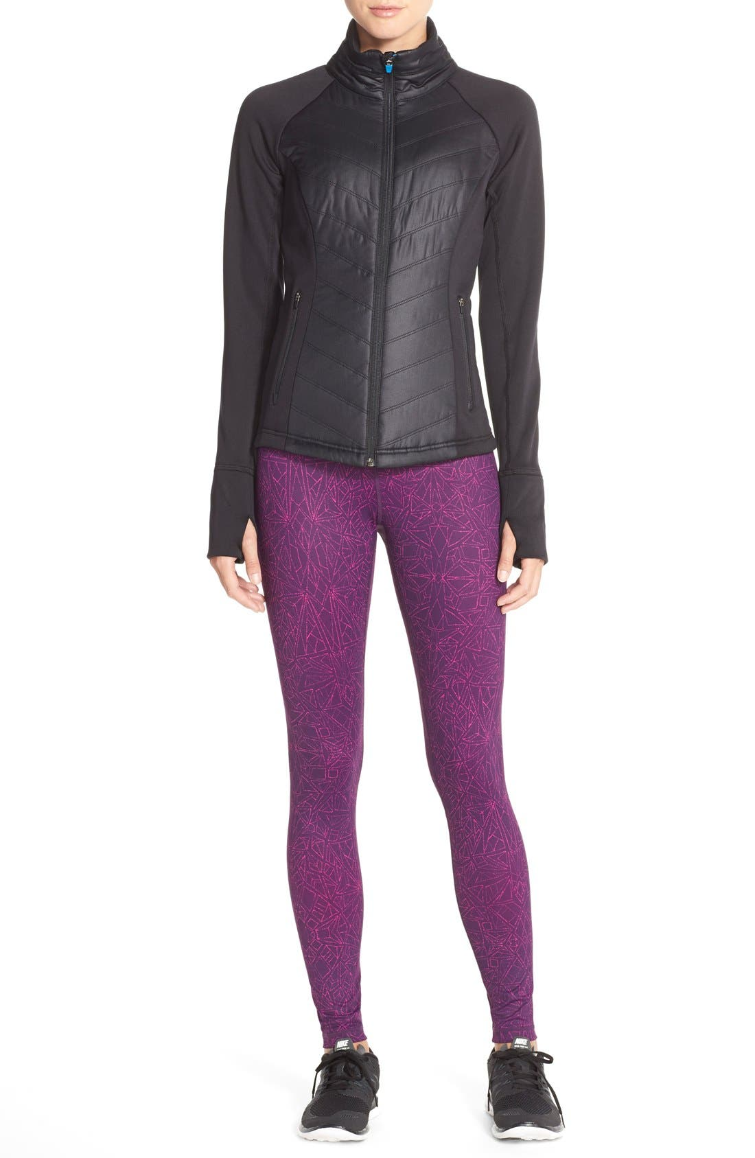 Zelfusion Reflective Quilted Jacket,                             Alternate thumbnail 11, color,                             001