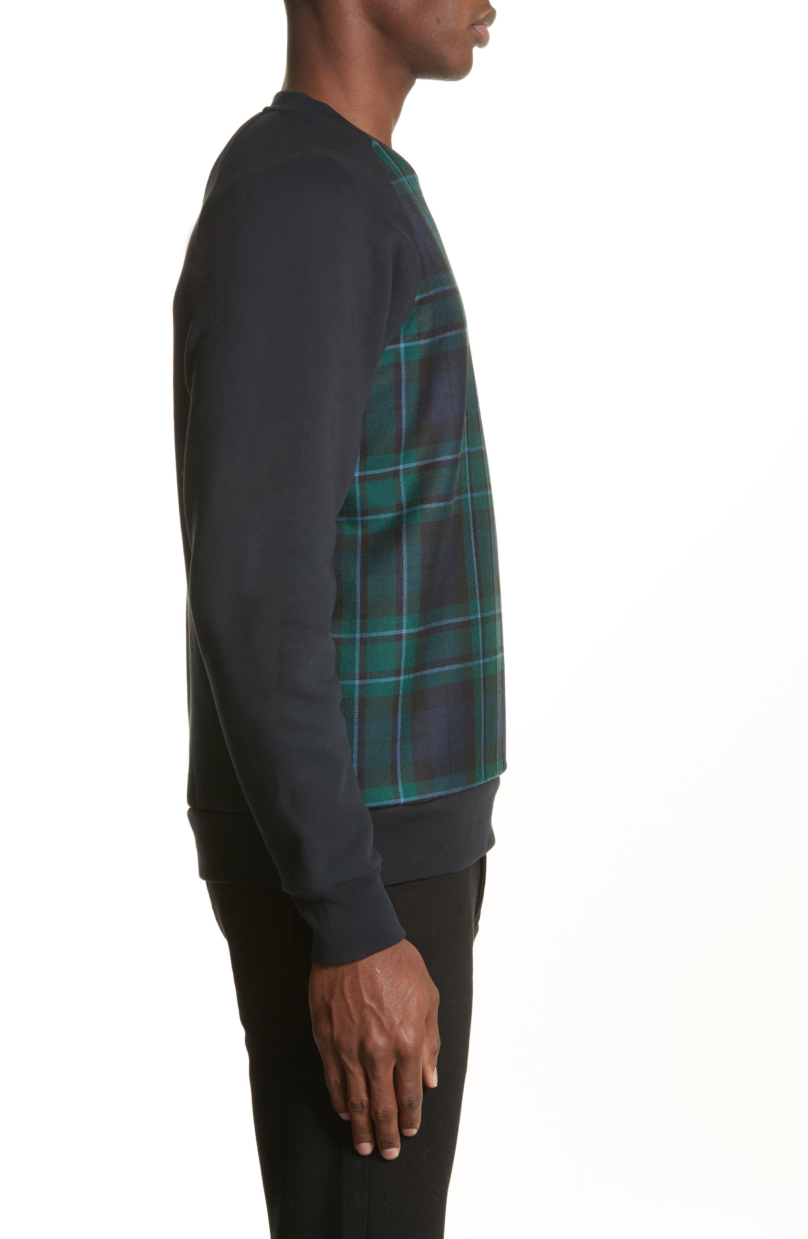 Beachen Tartan Panel Jersey Sweatshirt,                             Alternate thumbnail 3, color,                             410