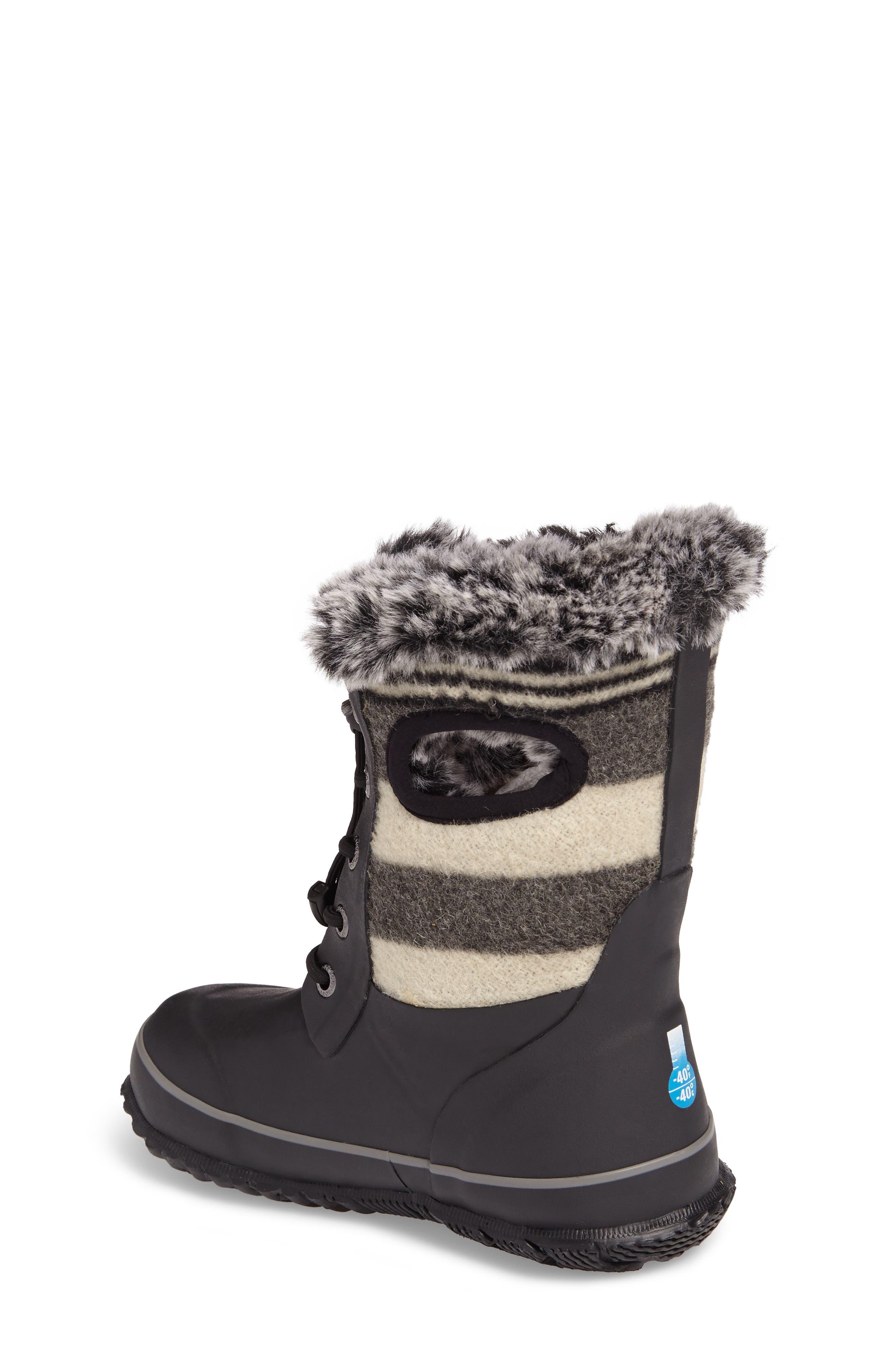 Arcata Stripe Waterproof Insulated Faux Fur Boot,                             Alternate thumbnail 2, color,                             BLACK MULTI