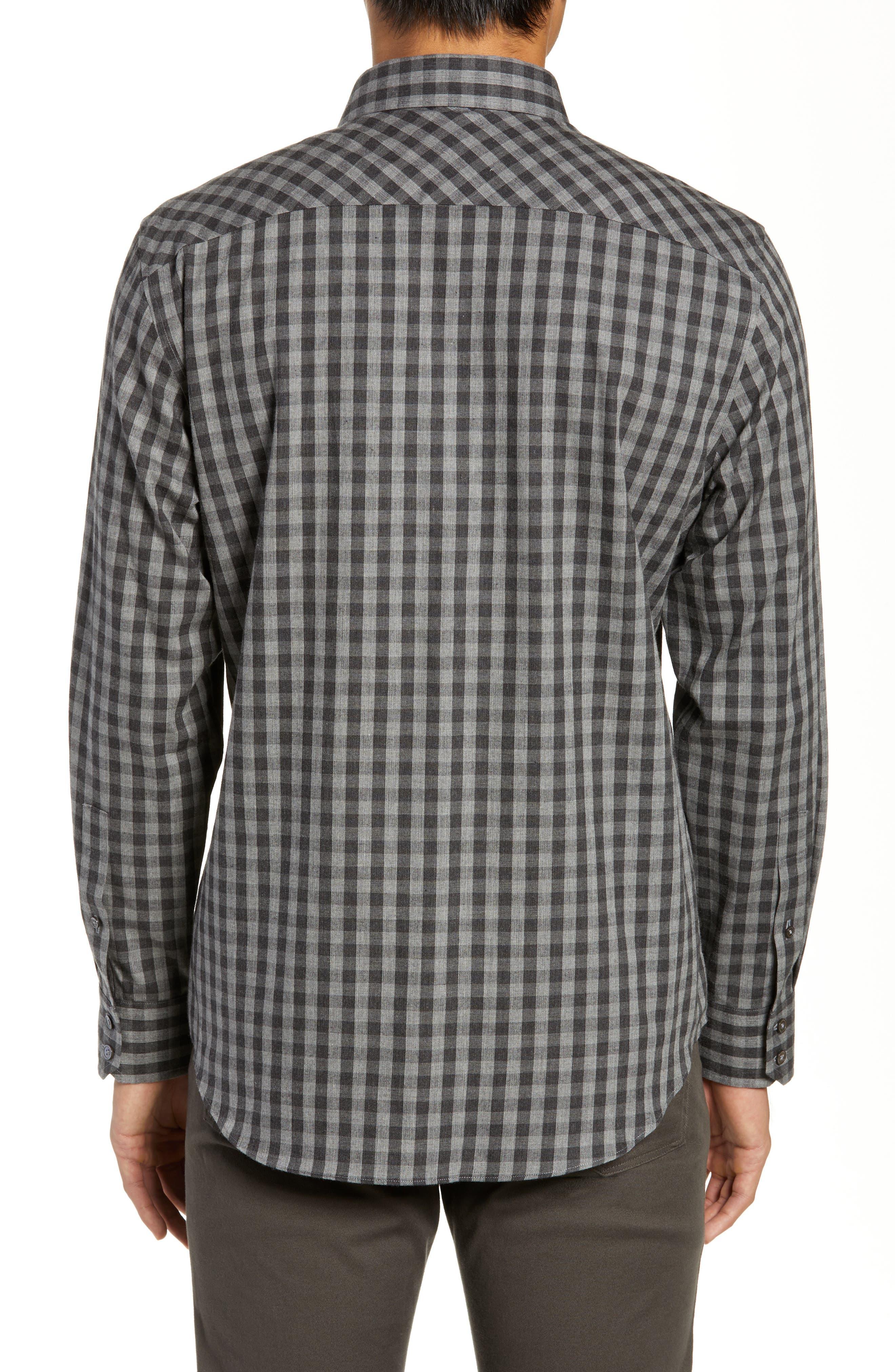 Lieberman Regular Fit Check Sport Shirt,                             Alternate thumbnail 3, color,                             CHARCOAL
