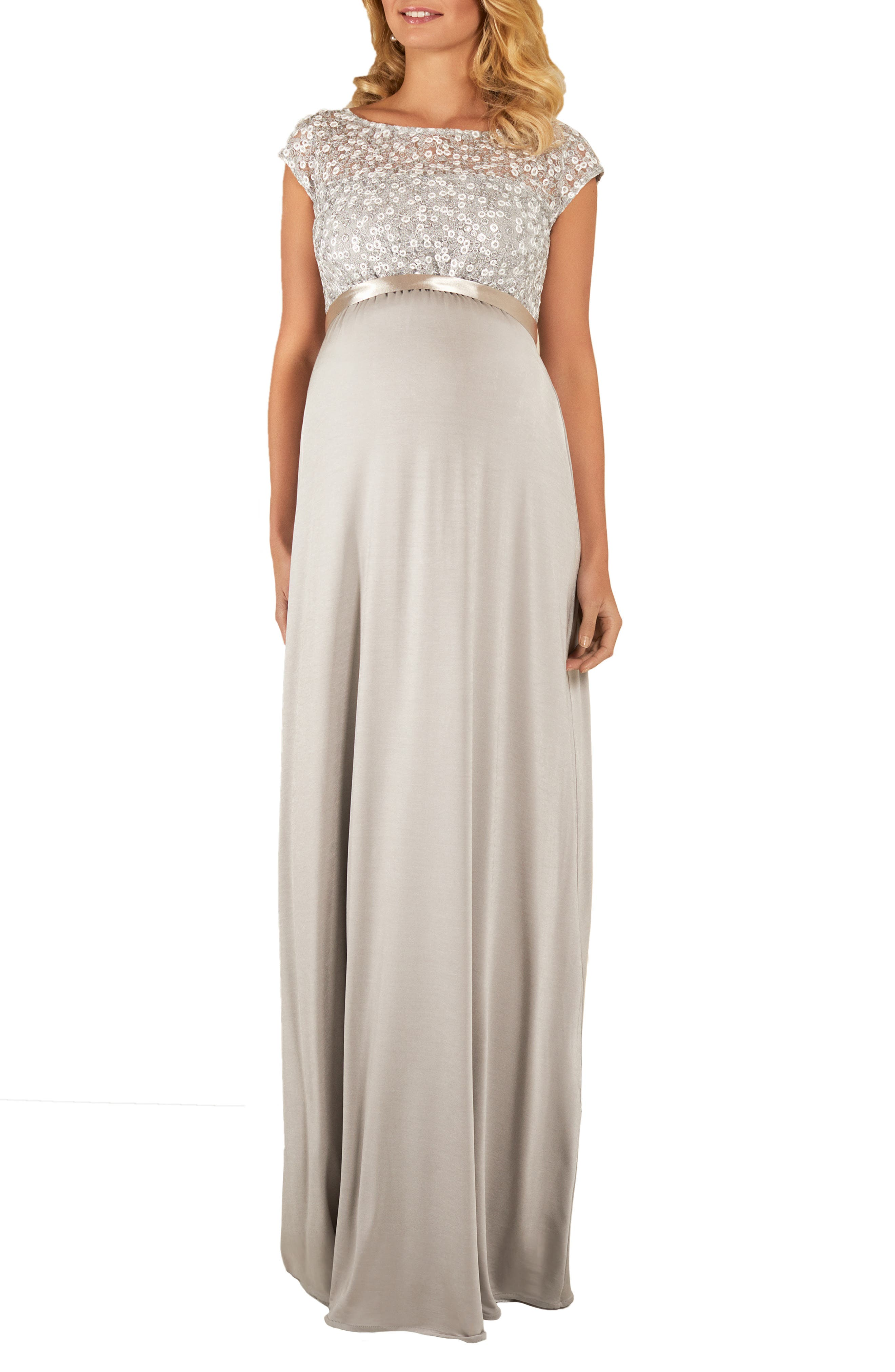 Maternity Mia Cap-Sleeve Gown With Sequin Bodice & Full-Length Skirt in Silver