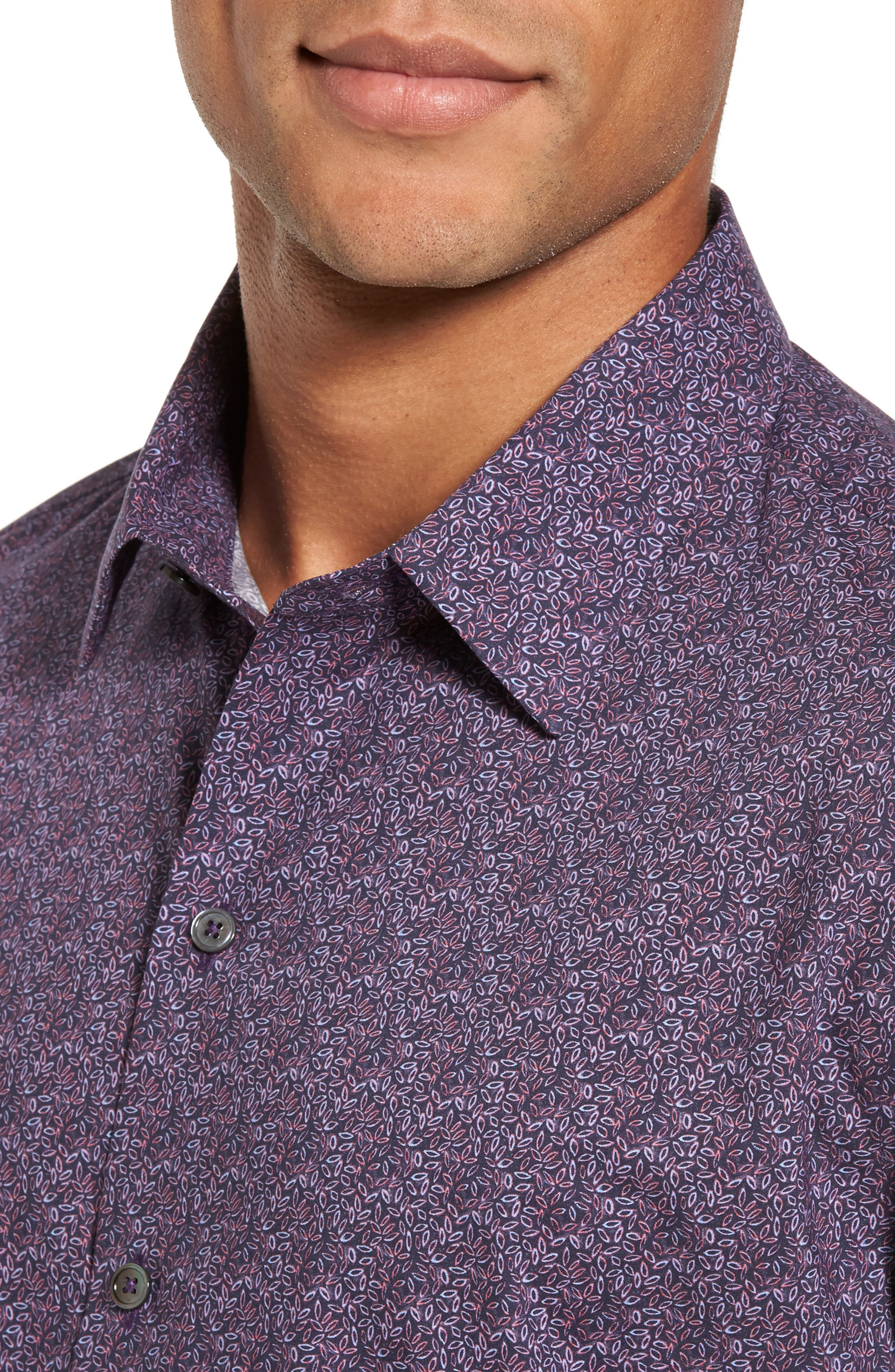 Cristobal Slim Fit Print Sport Shirt,                             Alternate thumbnail 4, color,                             500