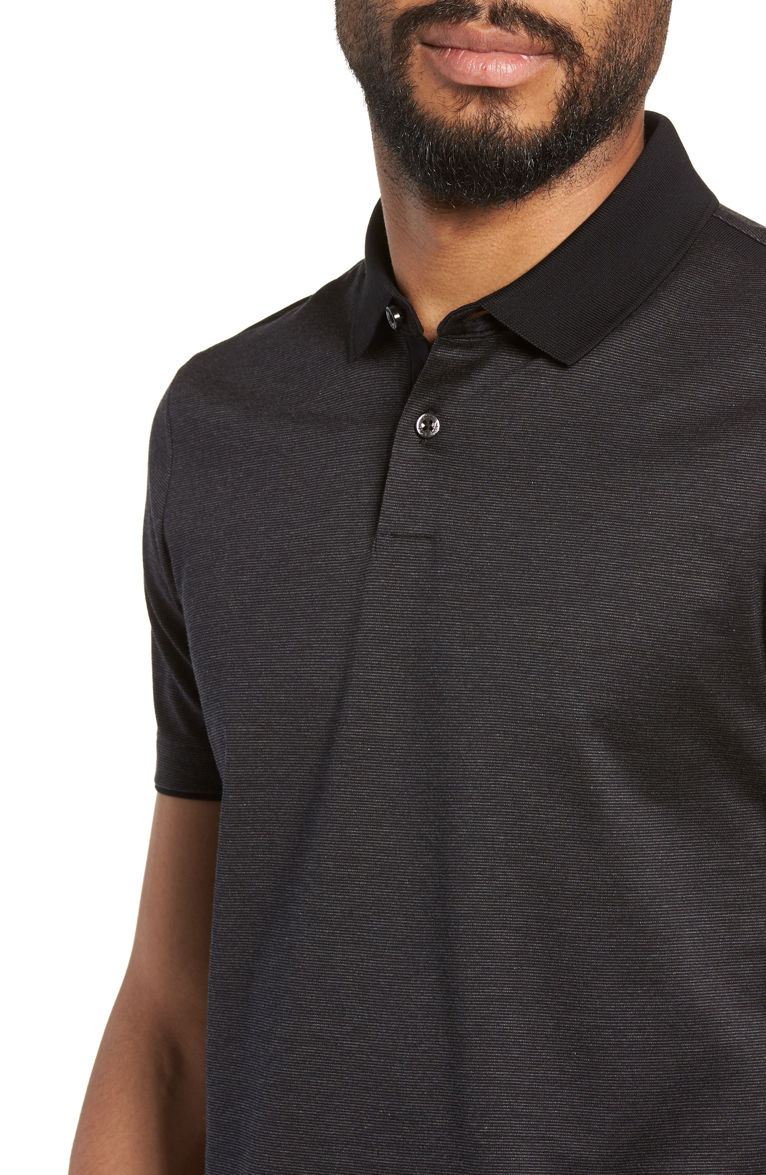 Pitton Slim Fit Polo,                             Alternate thumbnail 4, color,                             001