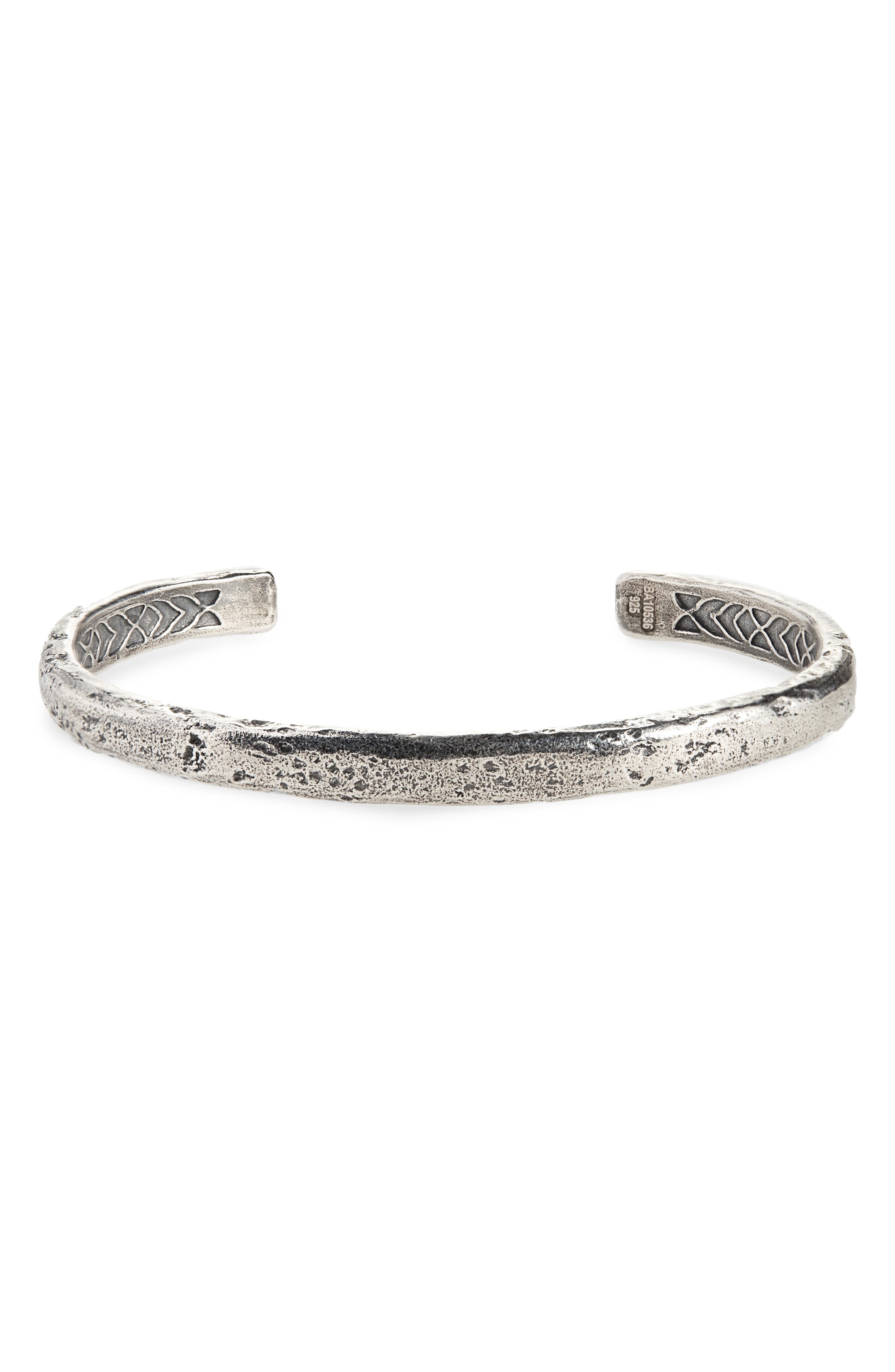 JOHN VARVATOS STAR USA,                             Silver Cuff Bracelet,                             Main thumbnail 1, color,                             METALLIC SILVER
