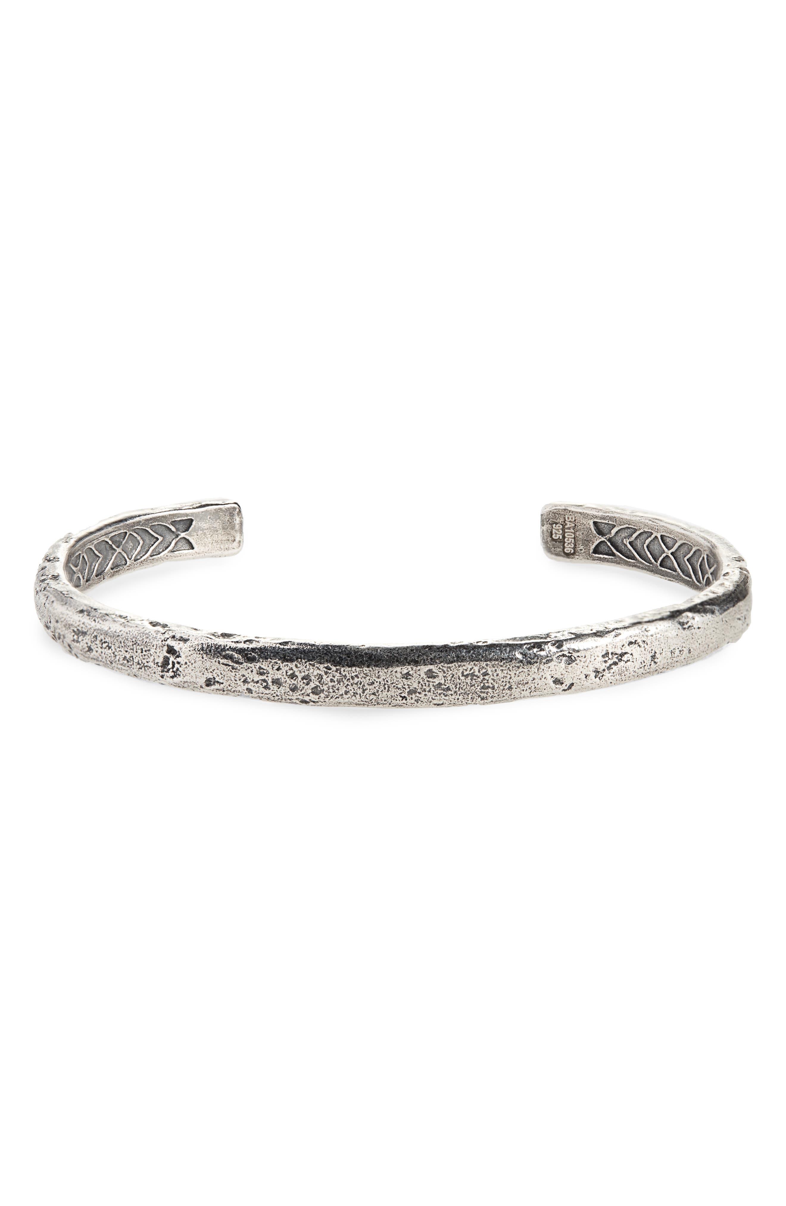 JOHN VARVATOS STAR USA Silver Cuff Bracelet, Main, color, METALLIC SILVER