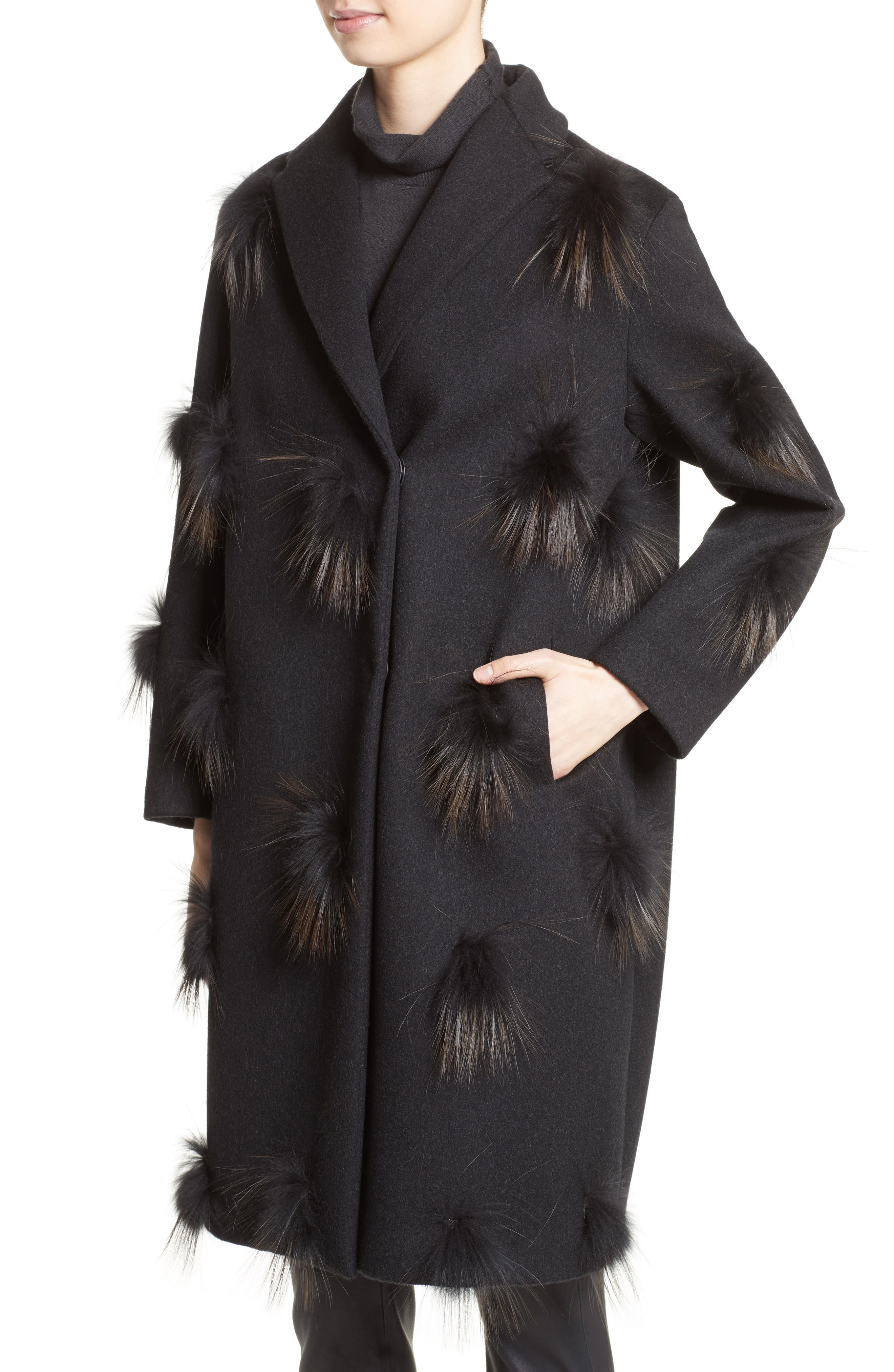 Genuine Fox Fur Trim Wool Blend Coat,                             Alternate thumbnail 4, color,                             001
