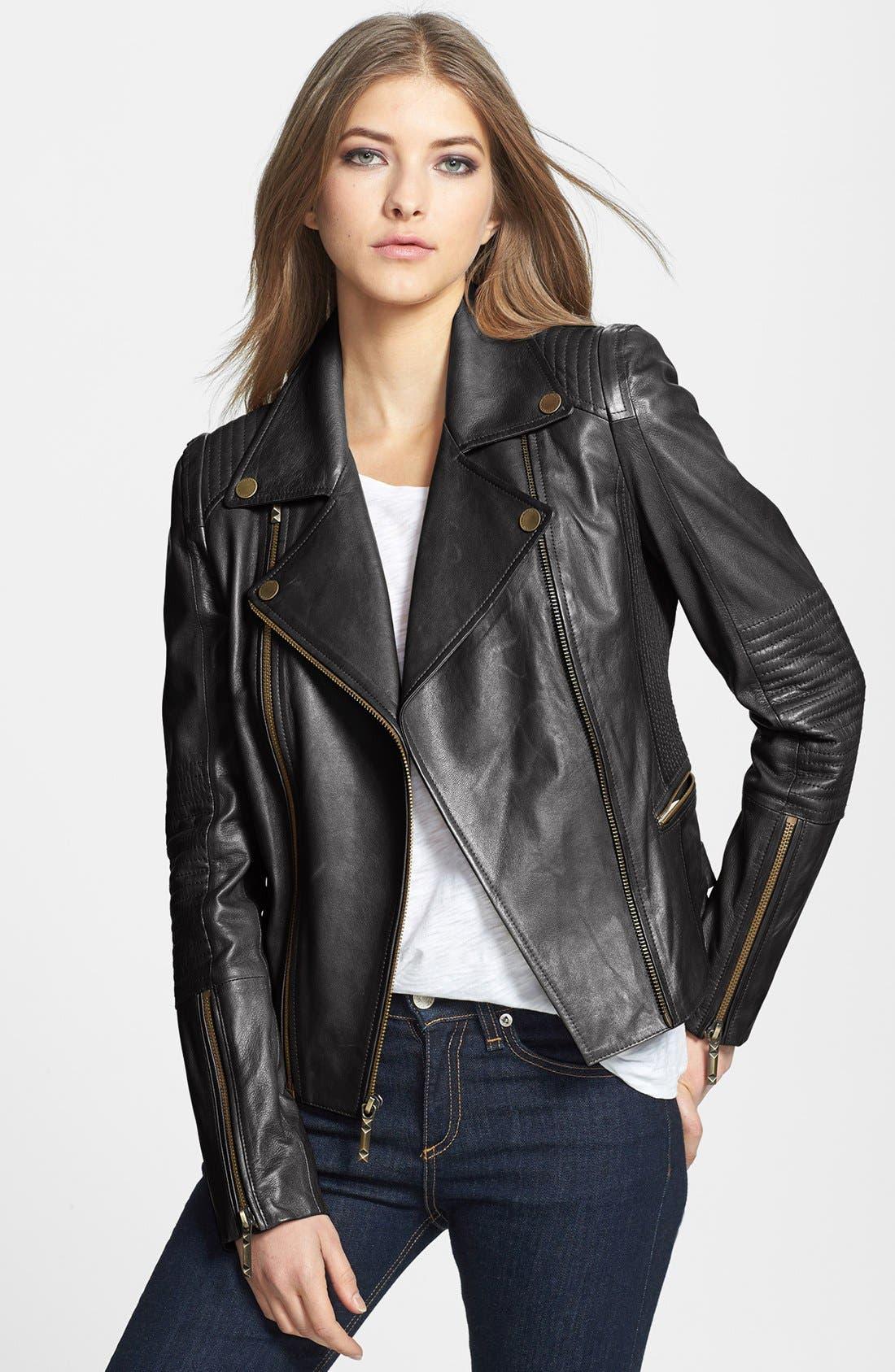 BCBGMAXAZRIA 'Tara' Leather Moto Jacket, Main, color, 001