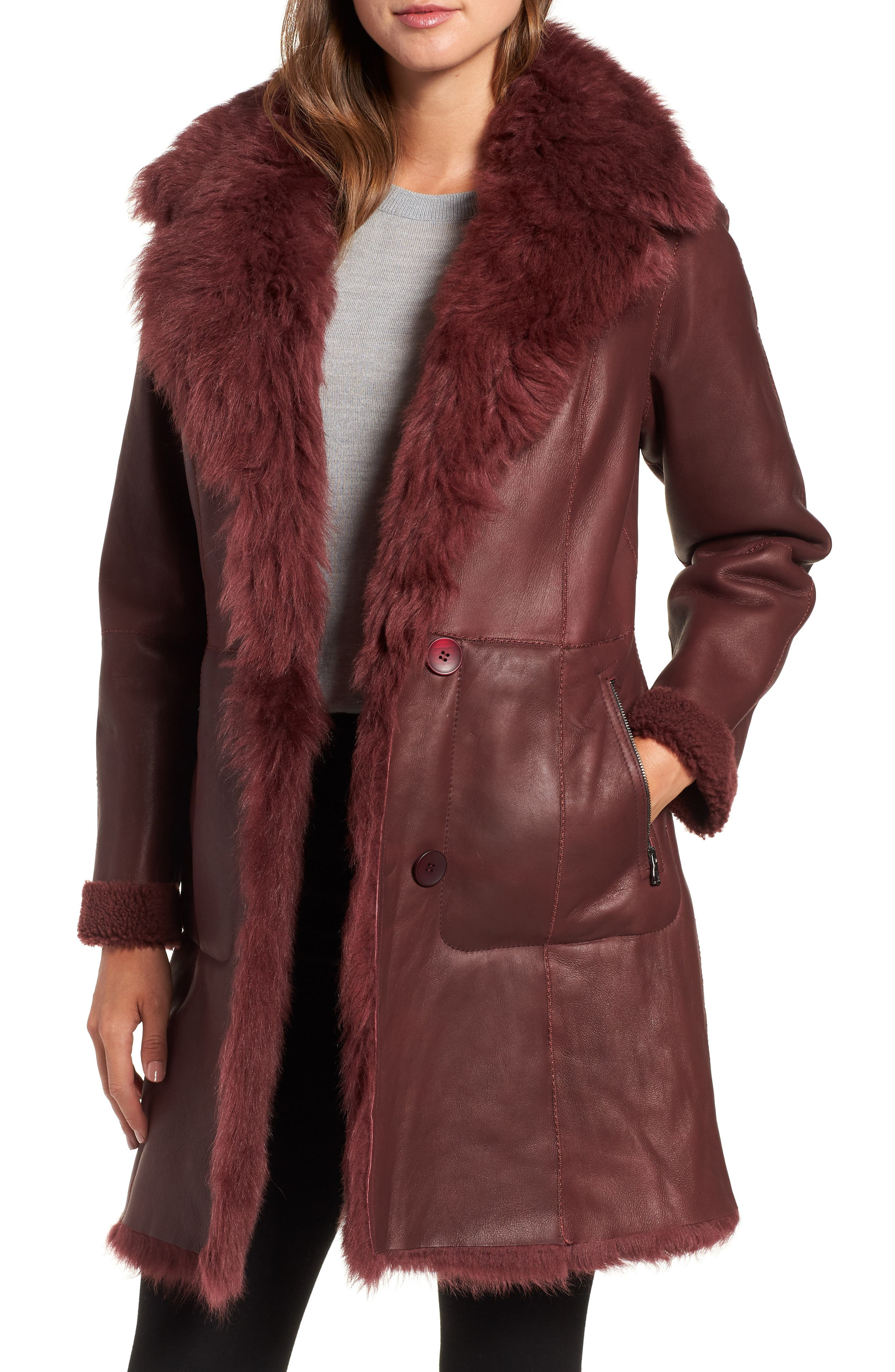 Hiso Reversible Genuine Shearling Coat, Burgundy