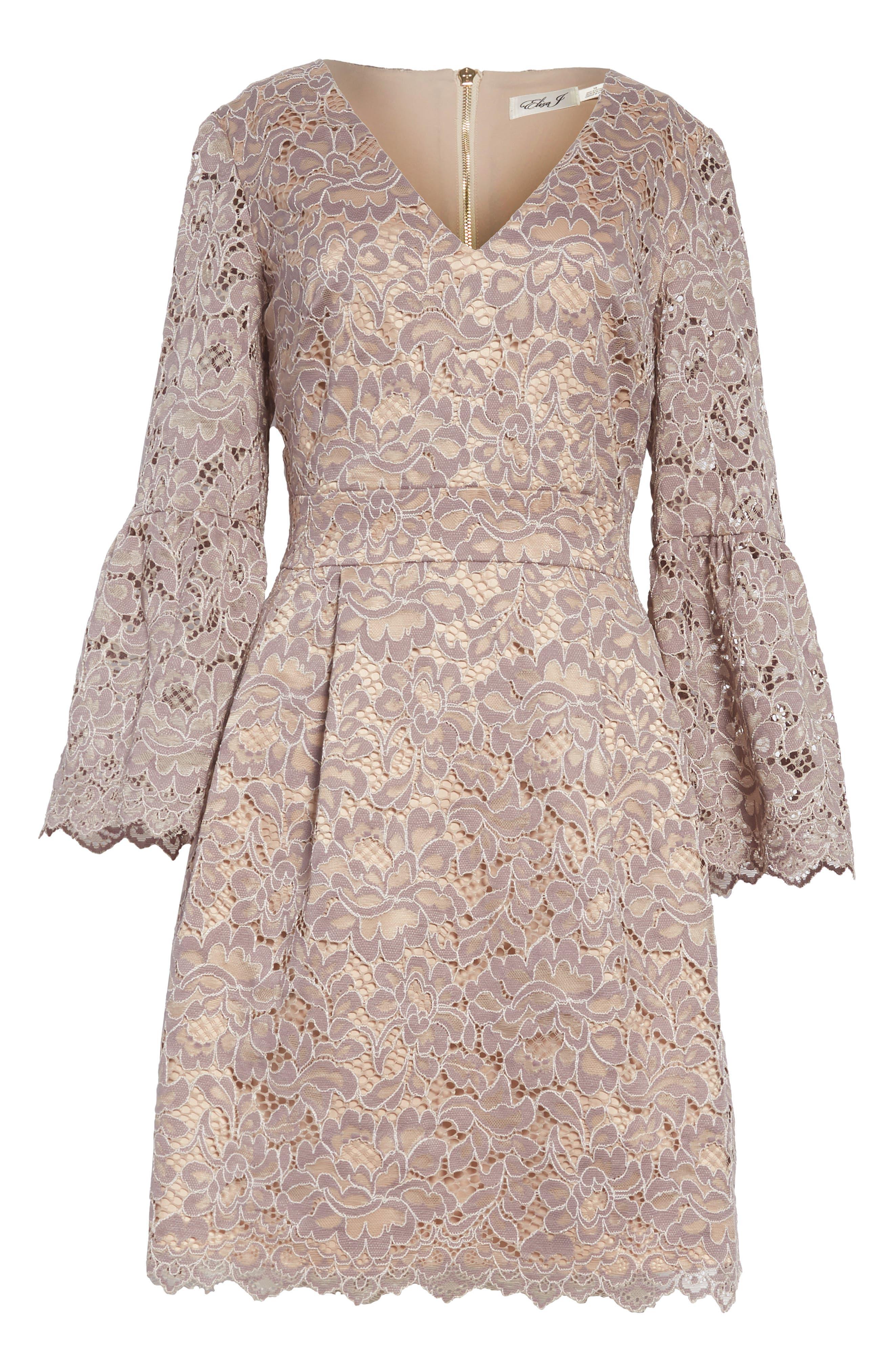 Lace Fit & Flare Dress,                             Alternate thumbnail 8, color,                             030