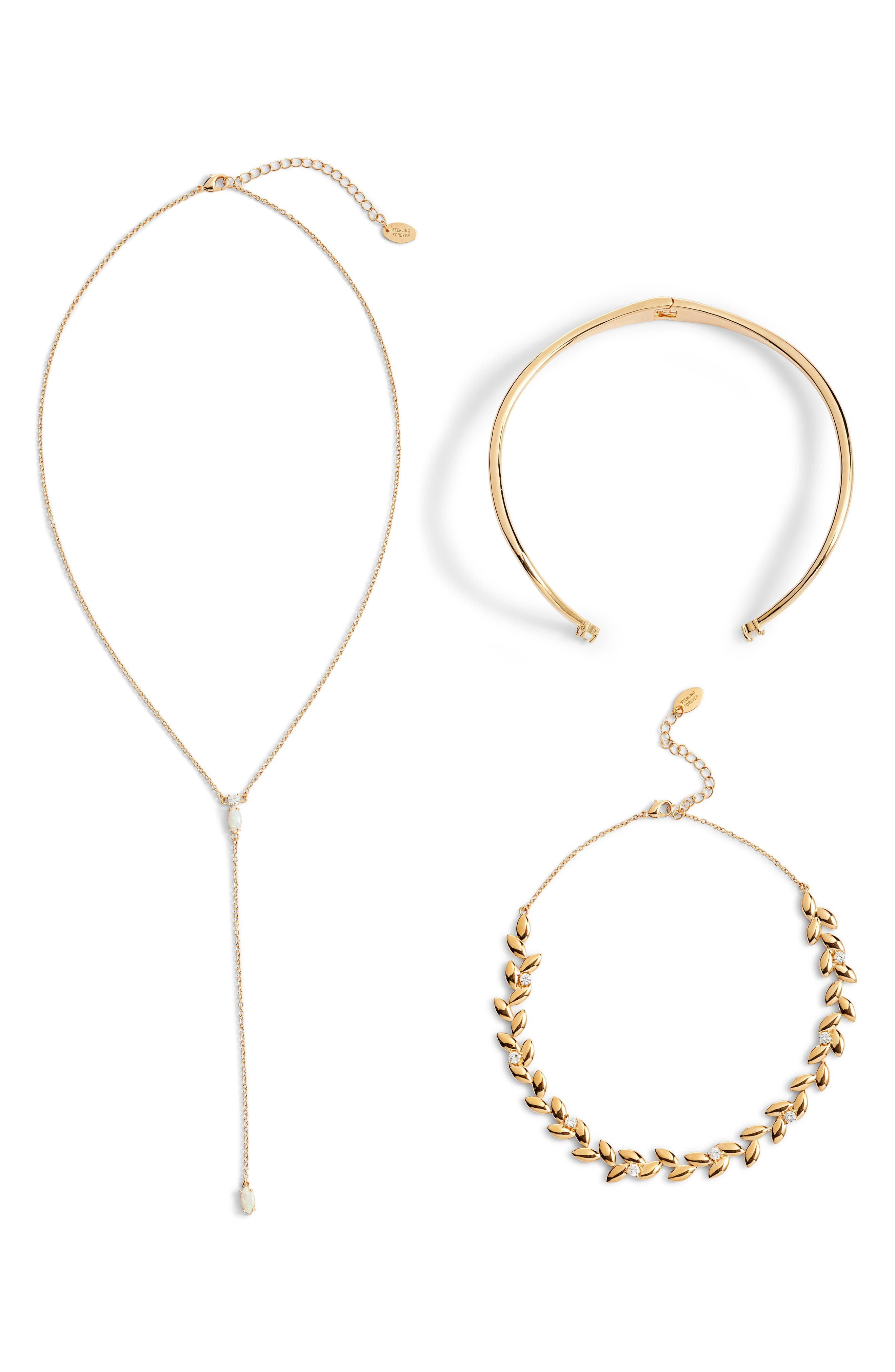 Hearts on Fire Set of 2 Chokers & Lariat Necklace,                         Main,                         color, GOLD