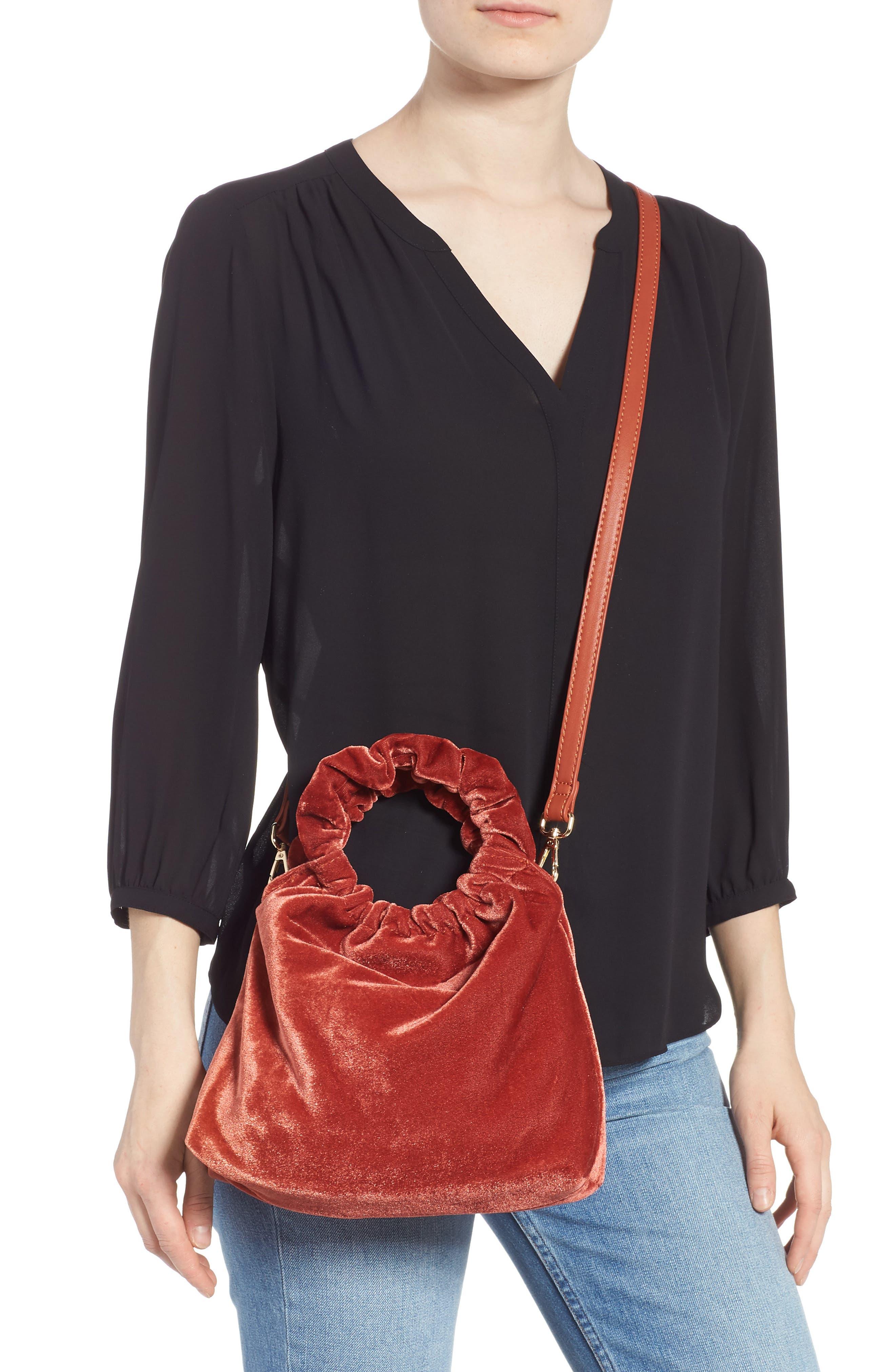 Mini Tyll Velvet Top Handle Bag,                             Alternate thumbnail 2, color,                             RUST