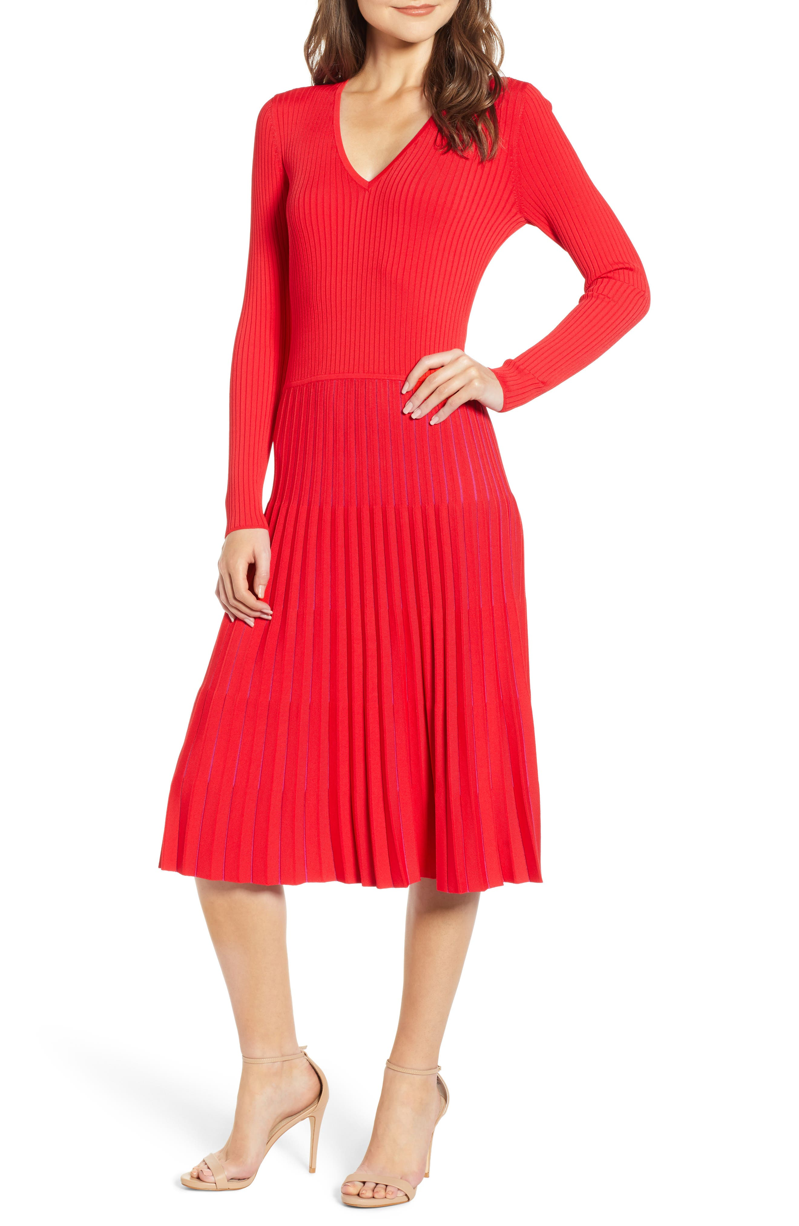 Chelsea28 Accordion Sweater Dress, Red