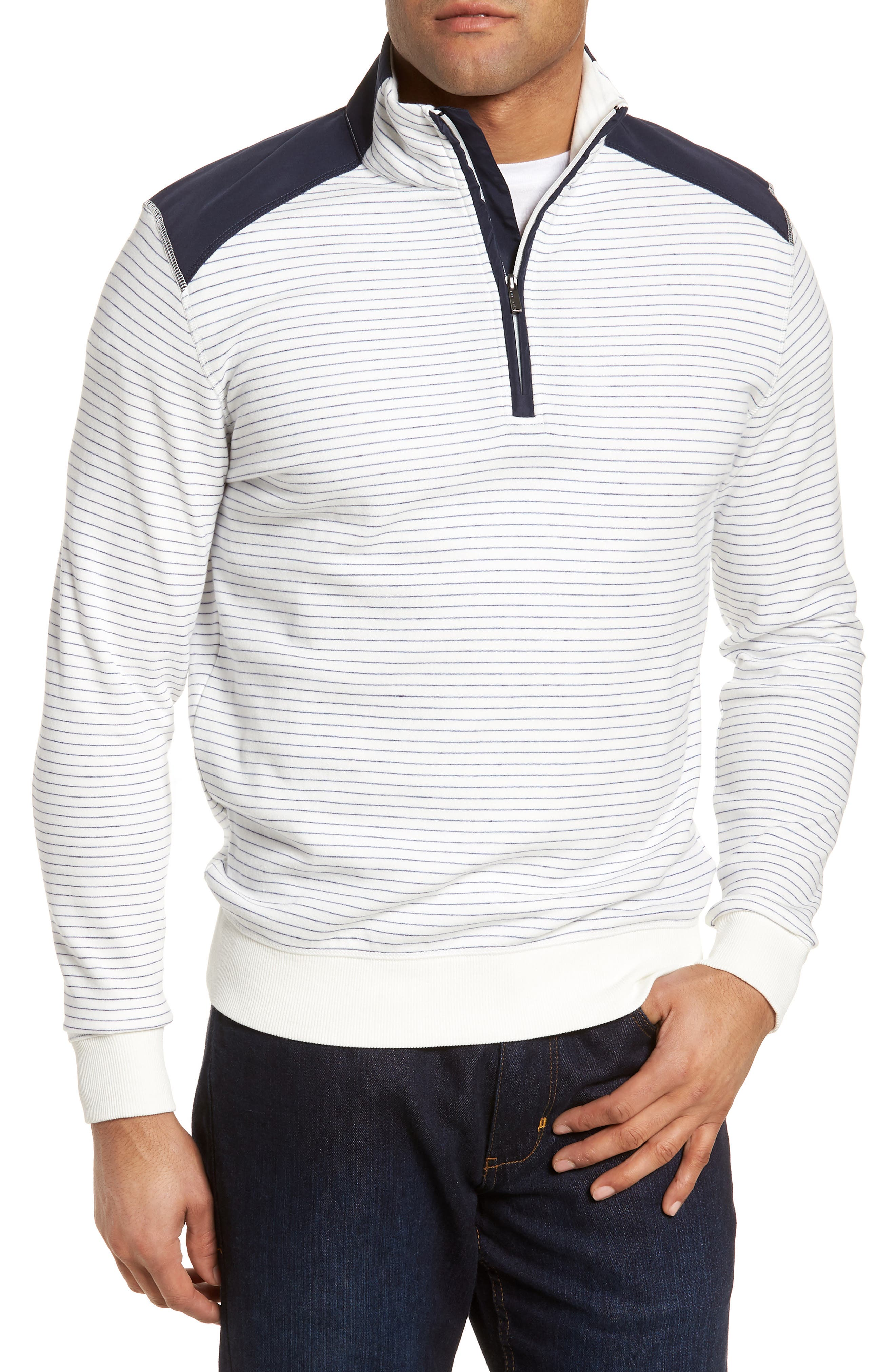 Regular Fit Stripe Quarter Zip Pullover,                             Main thumbnail 3, color,