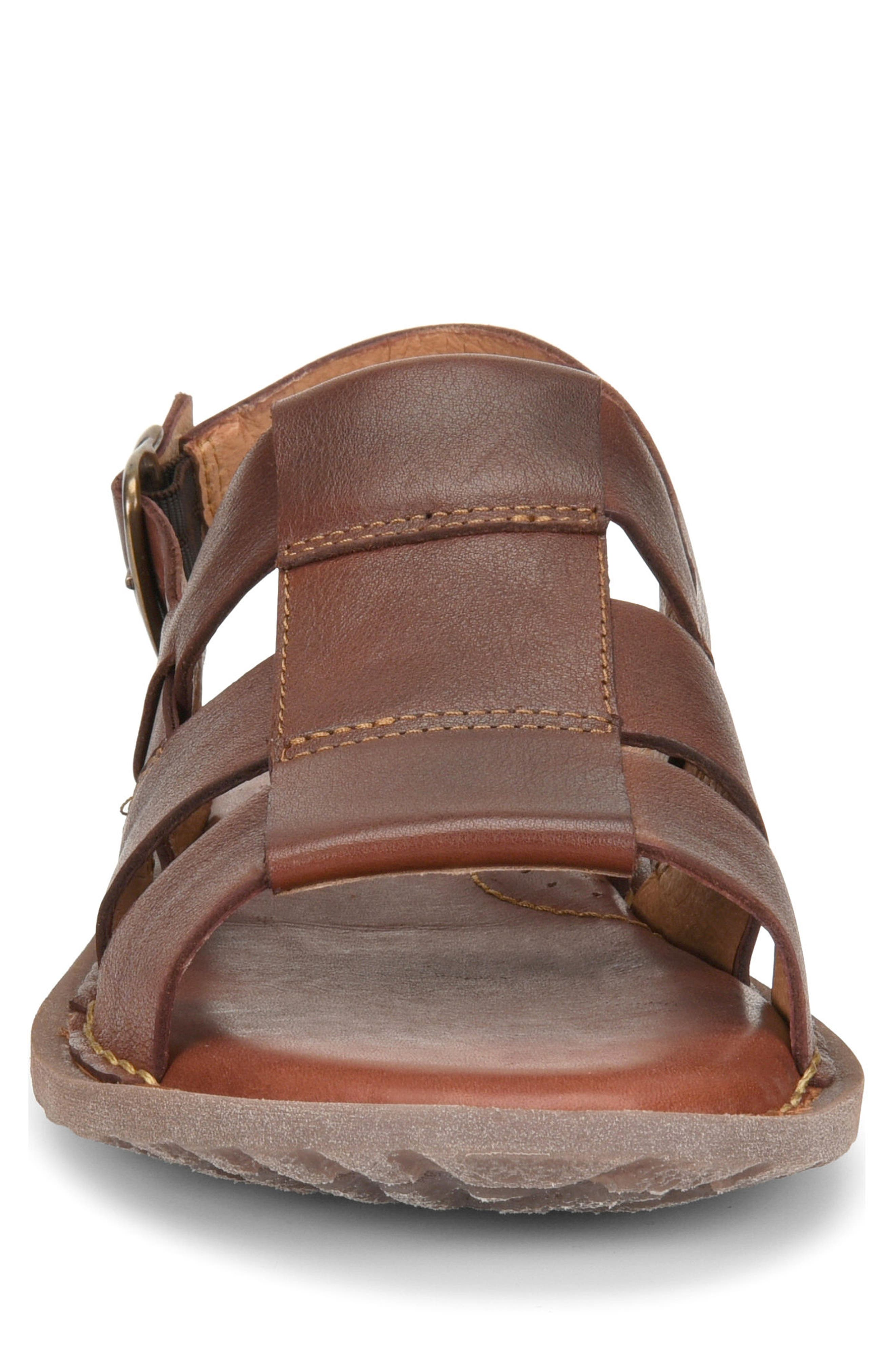 Surf Fisherman Sandal,                             Alternate thumbnail 4, color,                             BROWN LEATHER