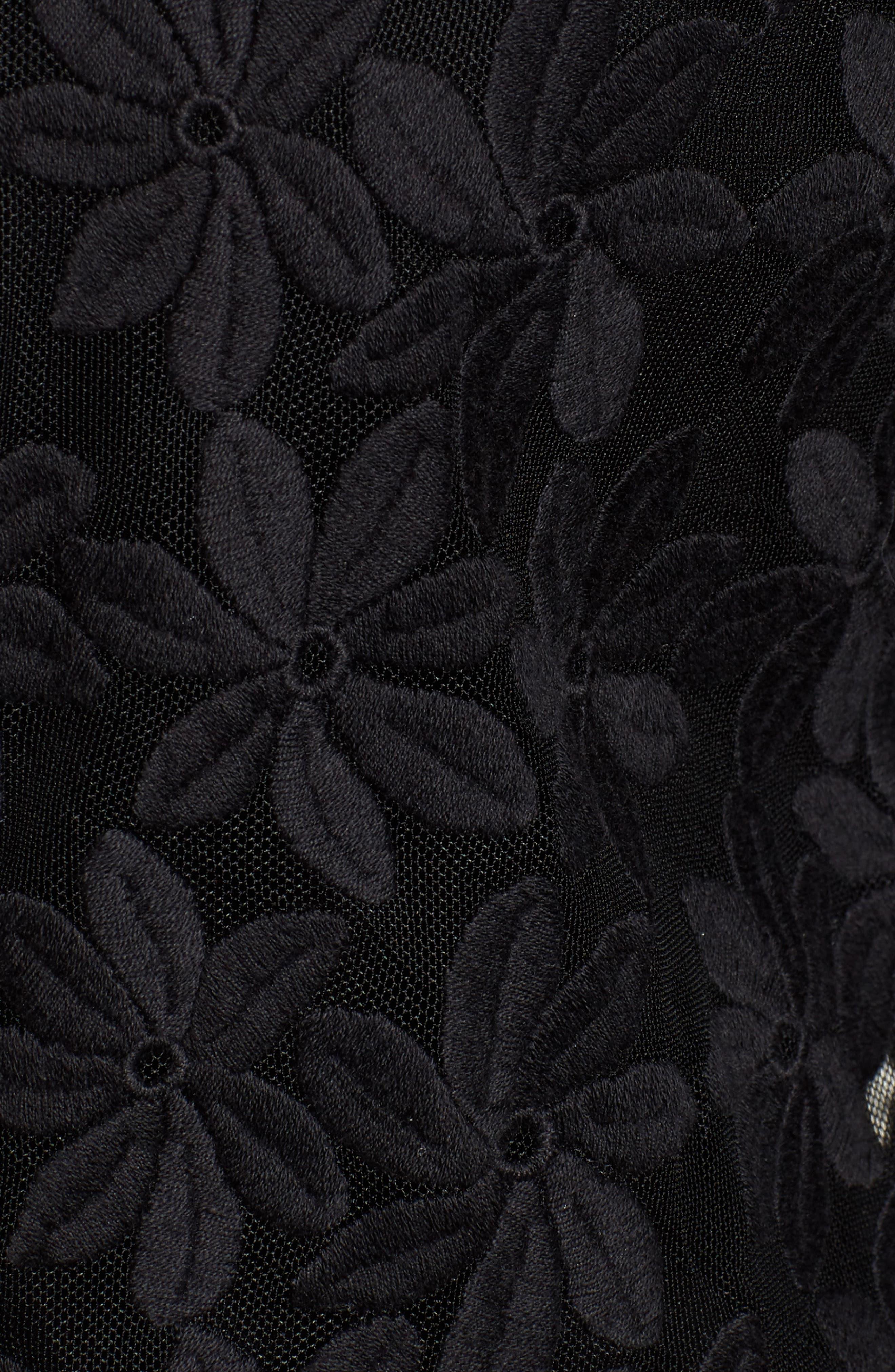 Floral Embroidered Mesh Cardigan,                             Alternate thumbnail 6, color,                             BLACK